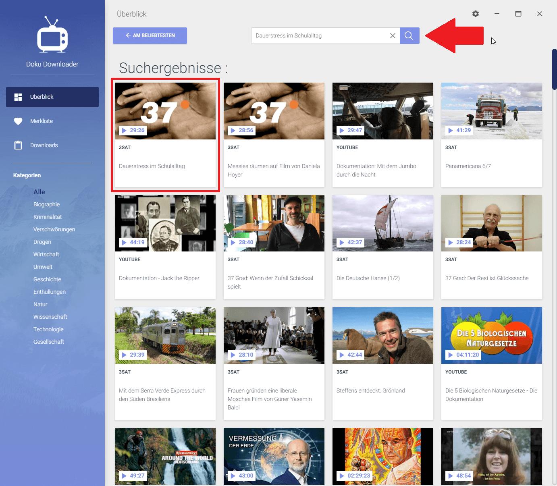 3SAT Dokumentation im Doku Downloader suchen