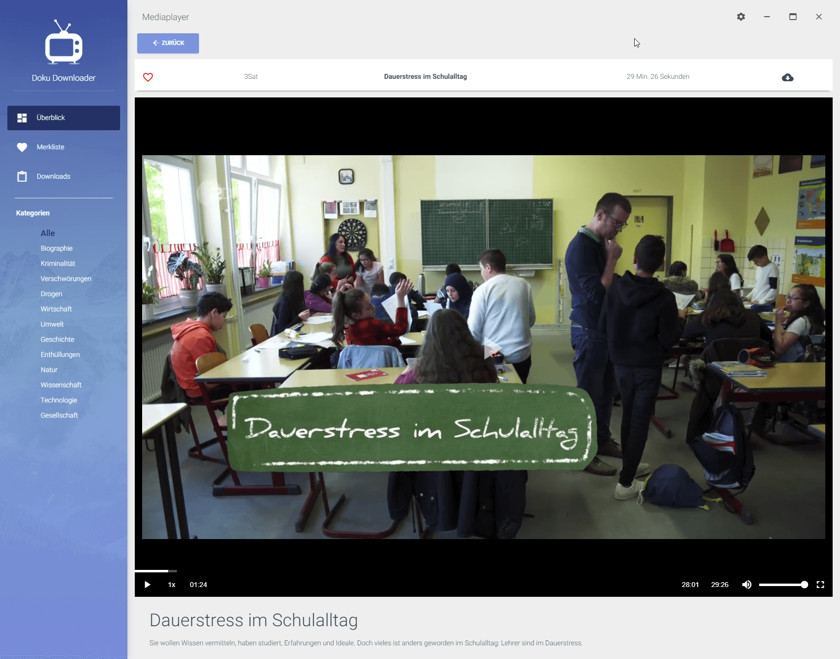 3SAT Dokumentation herunterladen: Detailansicht einer Doku