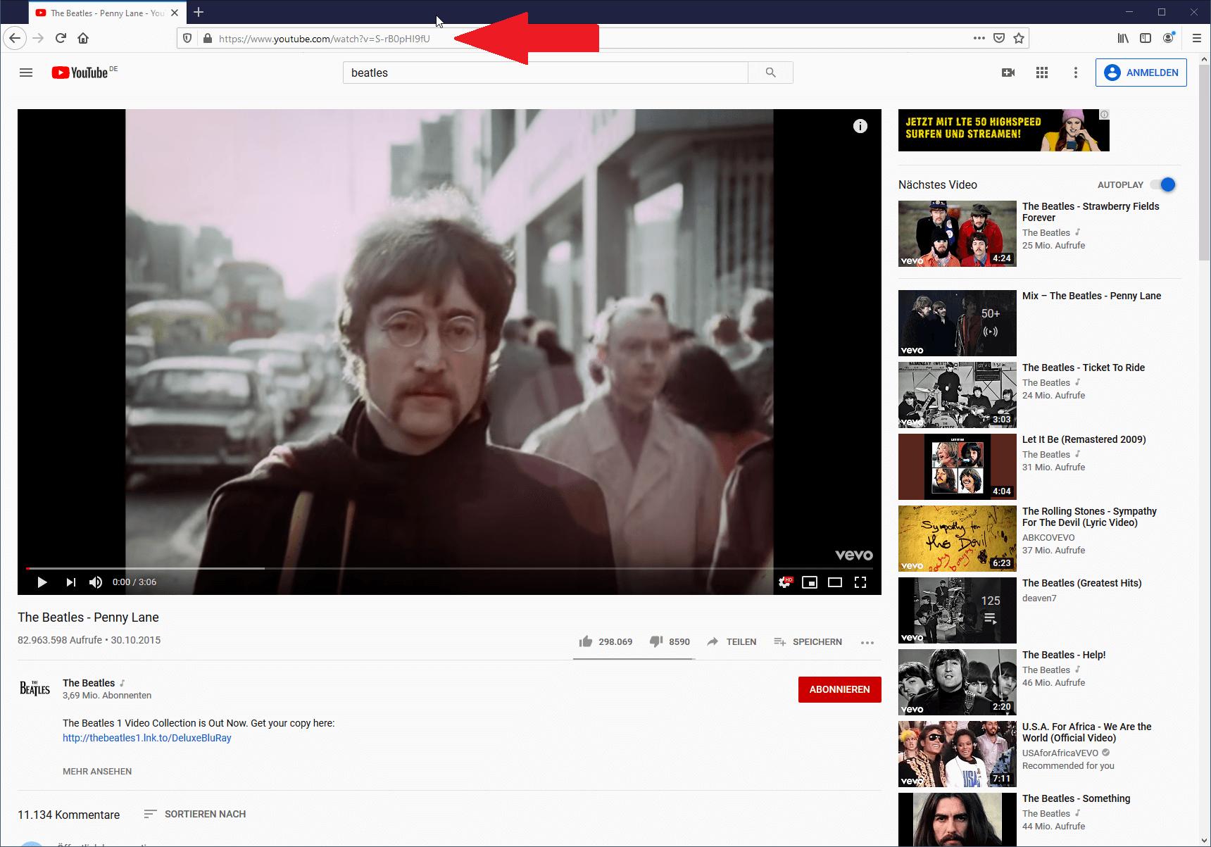 Youtube Musik auf USB Stick laden - Youtube URL im Browser kopieren