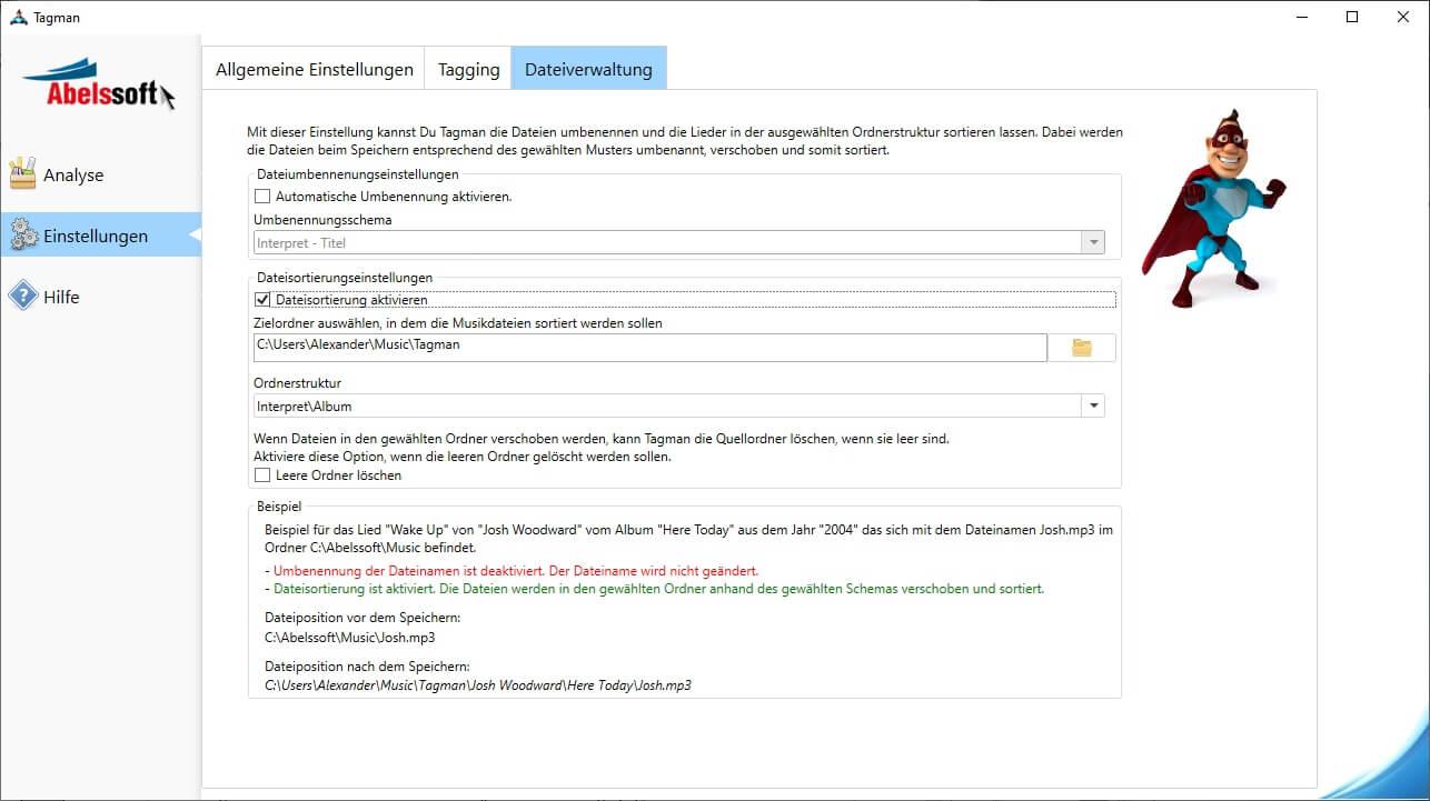MP3 Sammlung in Ordnern sortieren - Dateisortierung aktivieren