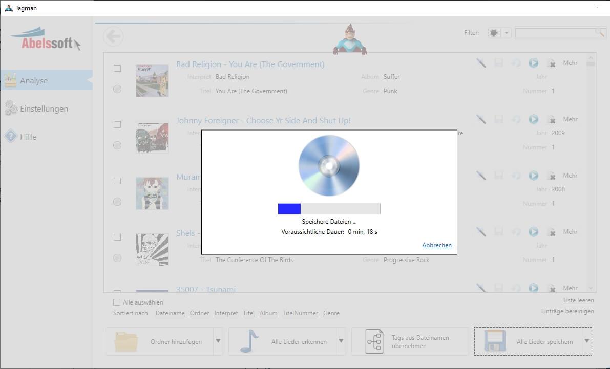 MP3 Sammlung in Ordnern sortieren - Sortieren starten