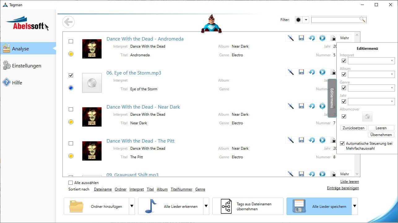 ID3 Tags aus MP3s entfernen - Änderungen für einzelne MP3s übernehmen