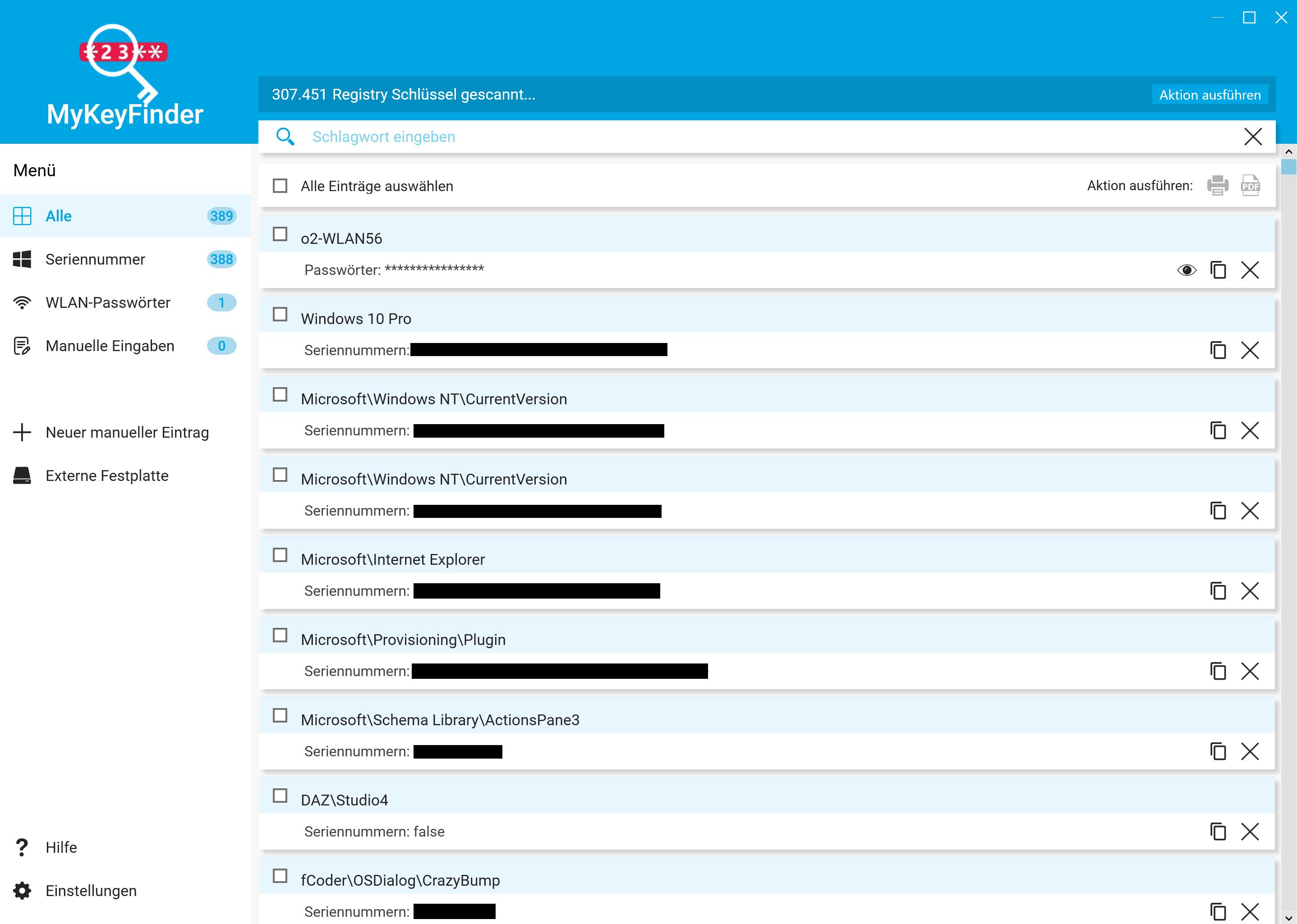 Kaspersky Lizenzschlüssel auslesen - Alle Lizenzschlüssel in MyKeyFinder anzeigen