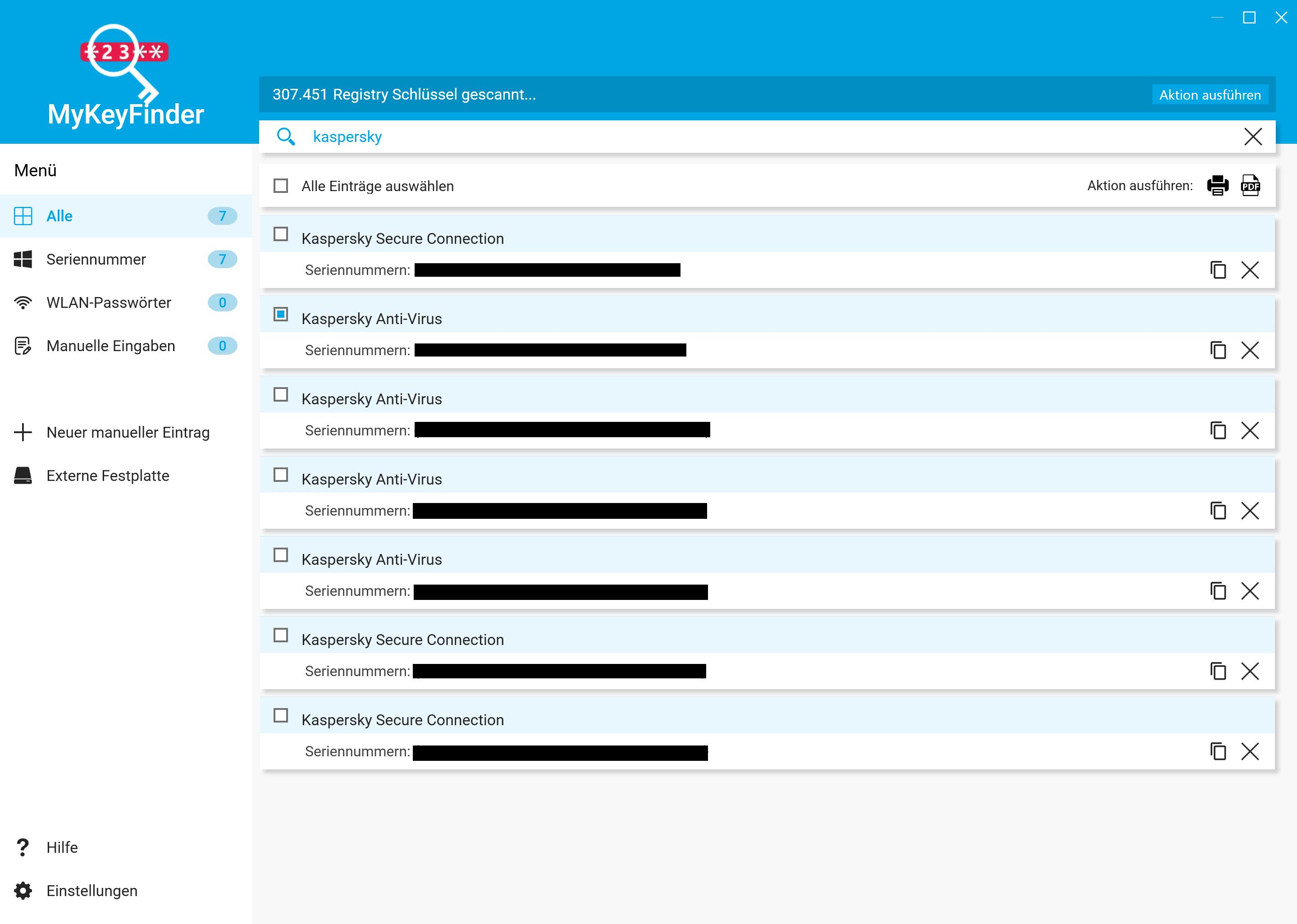 Kaspersky Lizenzschlüssel auslesen - Lizenzschlüssel auswählen