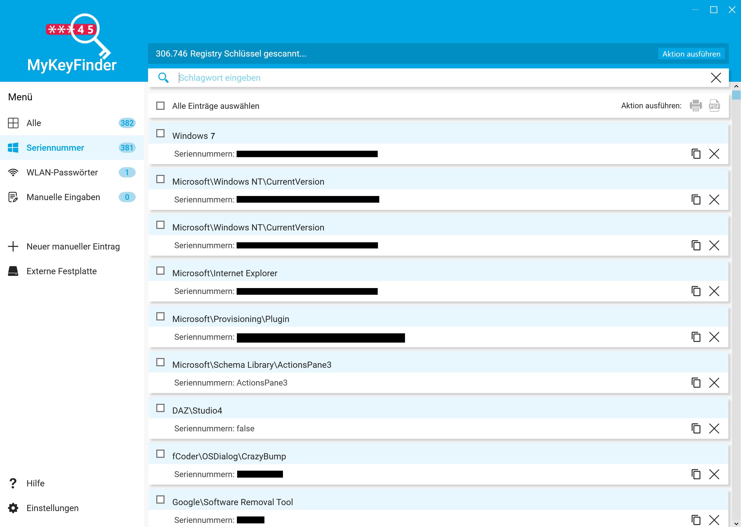 Windows 7 Key auslesen und herausfinden - Suche benutzen