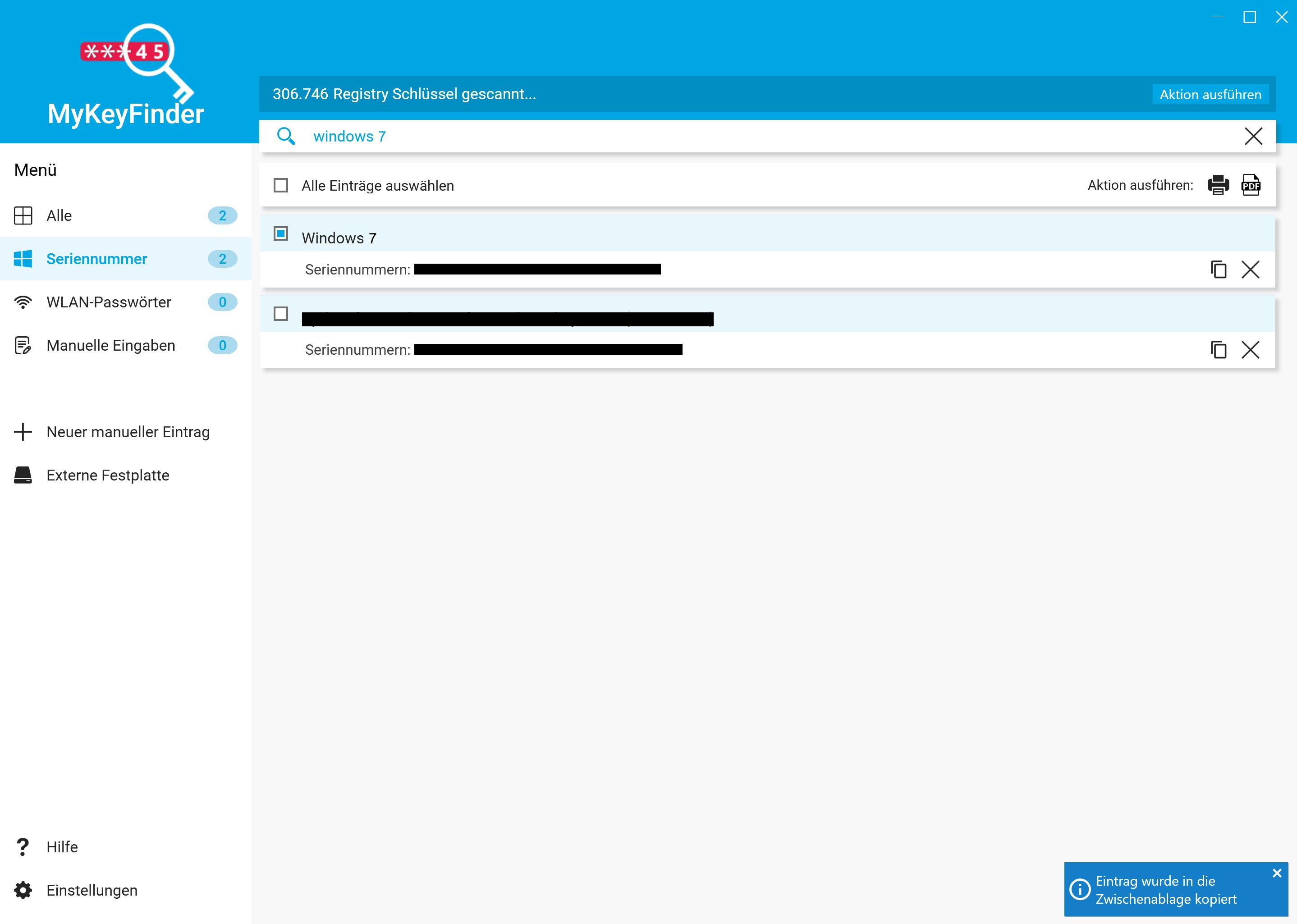 Windows 7 Key auslesen und herausfinden - In die Zwischenablage kopieren
