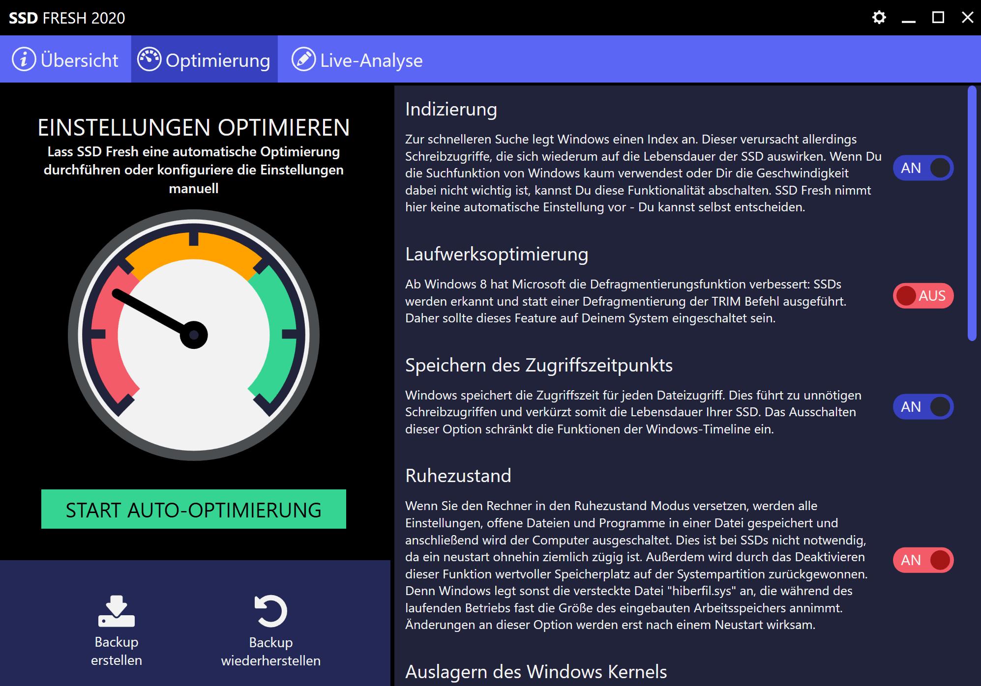 SSD Ruhezustand deaktivieren - Manuelle Optimierung