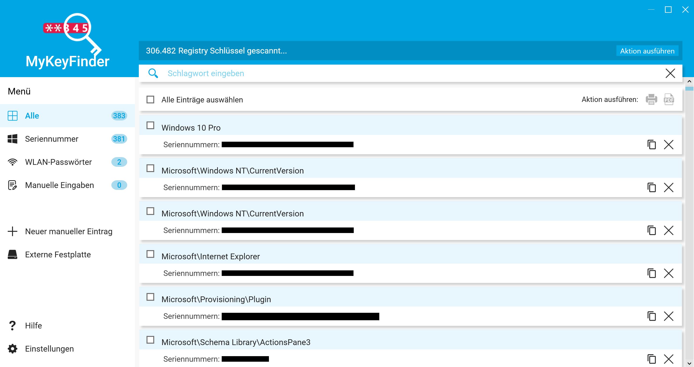 WLAN Passwort herausfinden und auslesen - MyKeyFinder Dashboard