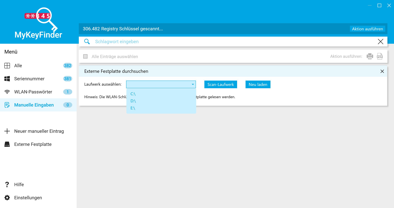 Office Product Key herausfinden und auslesen - Externe Festplatte durchsuchen