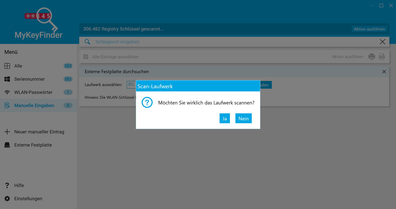 Office Product Key herausfinden und auslesen - Laufwerk scannen
