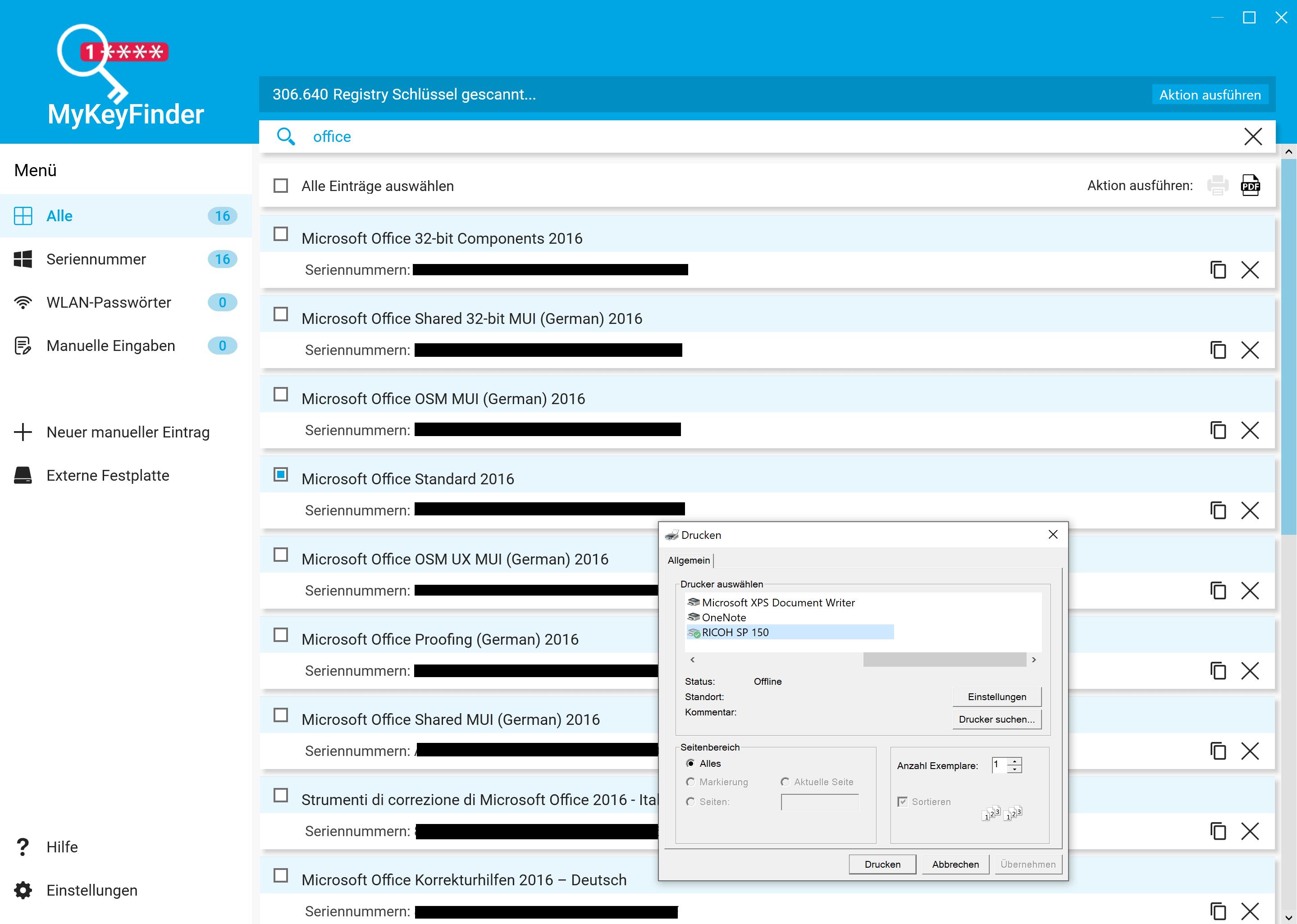 Office Product Key herausfinden und auslesen - Gefundenen Key exportieren