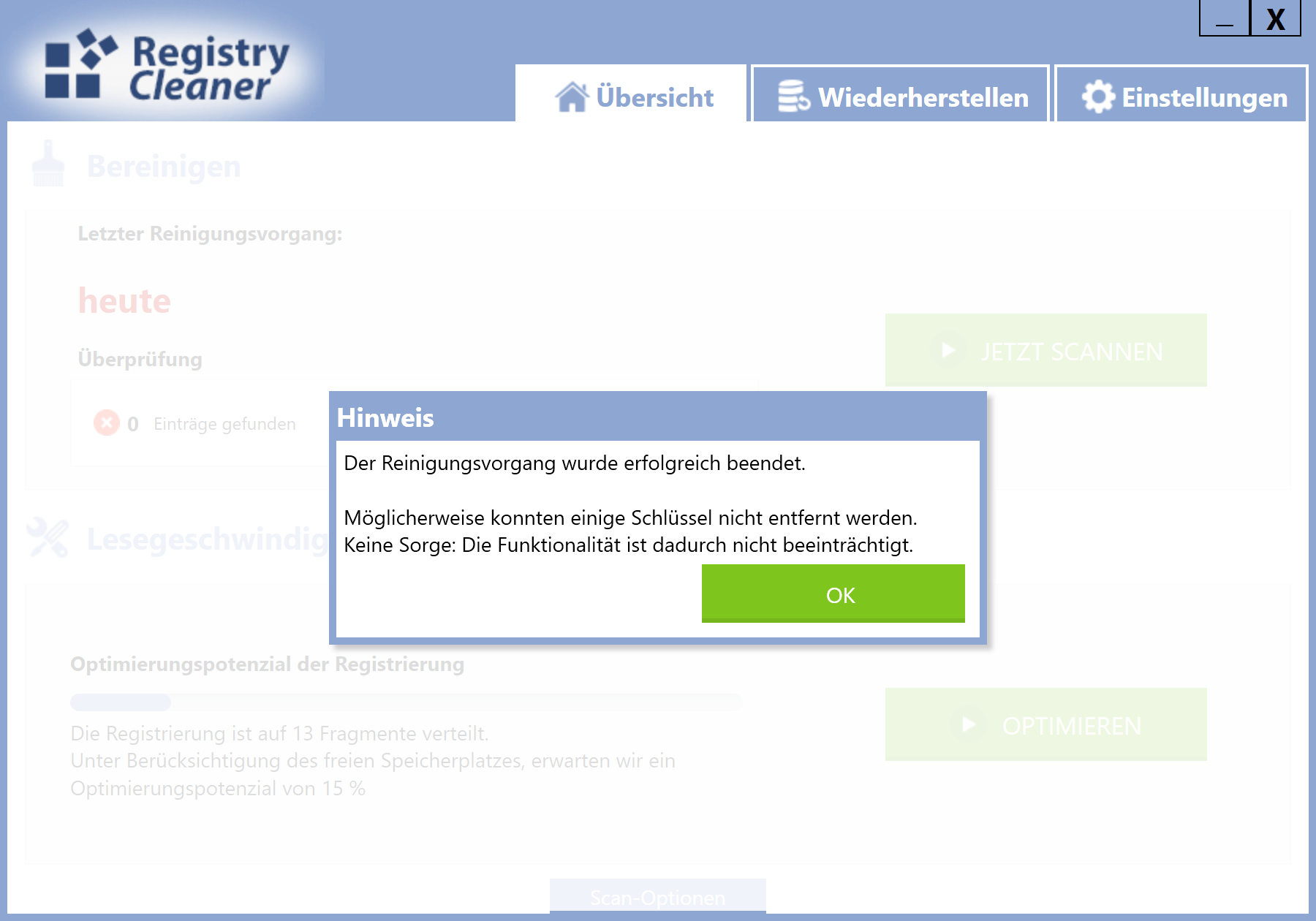 Registry Einträge löschen - Registry bereinigen