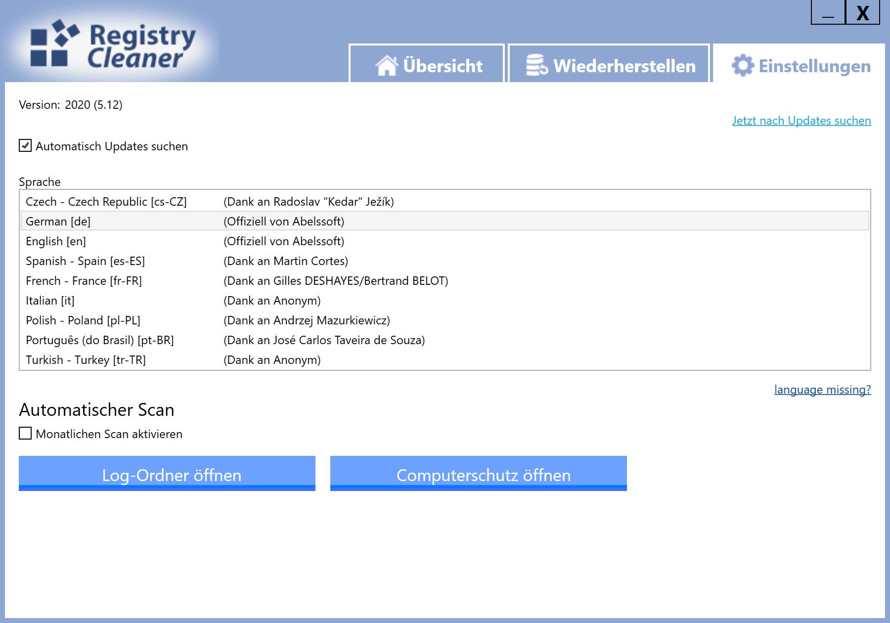 Registry Einträge löschen - Einstellungen