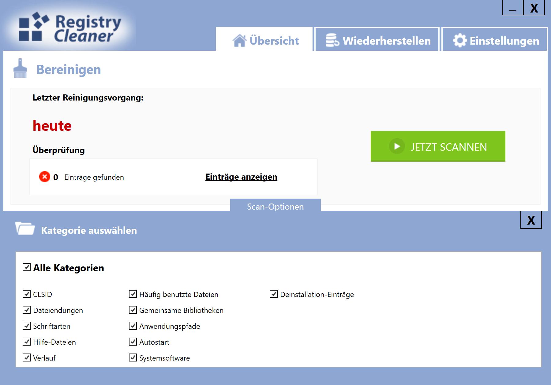 Gelöschte Einträge in der Registry wiederherstellen - Scan-Optionen