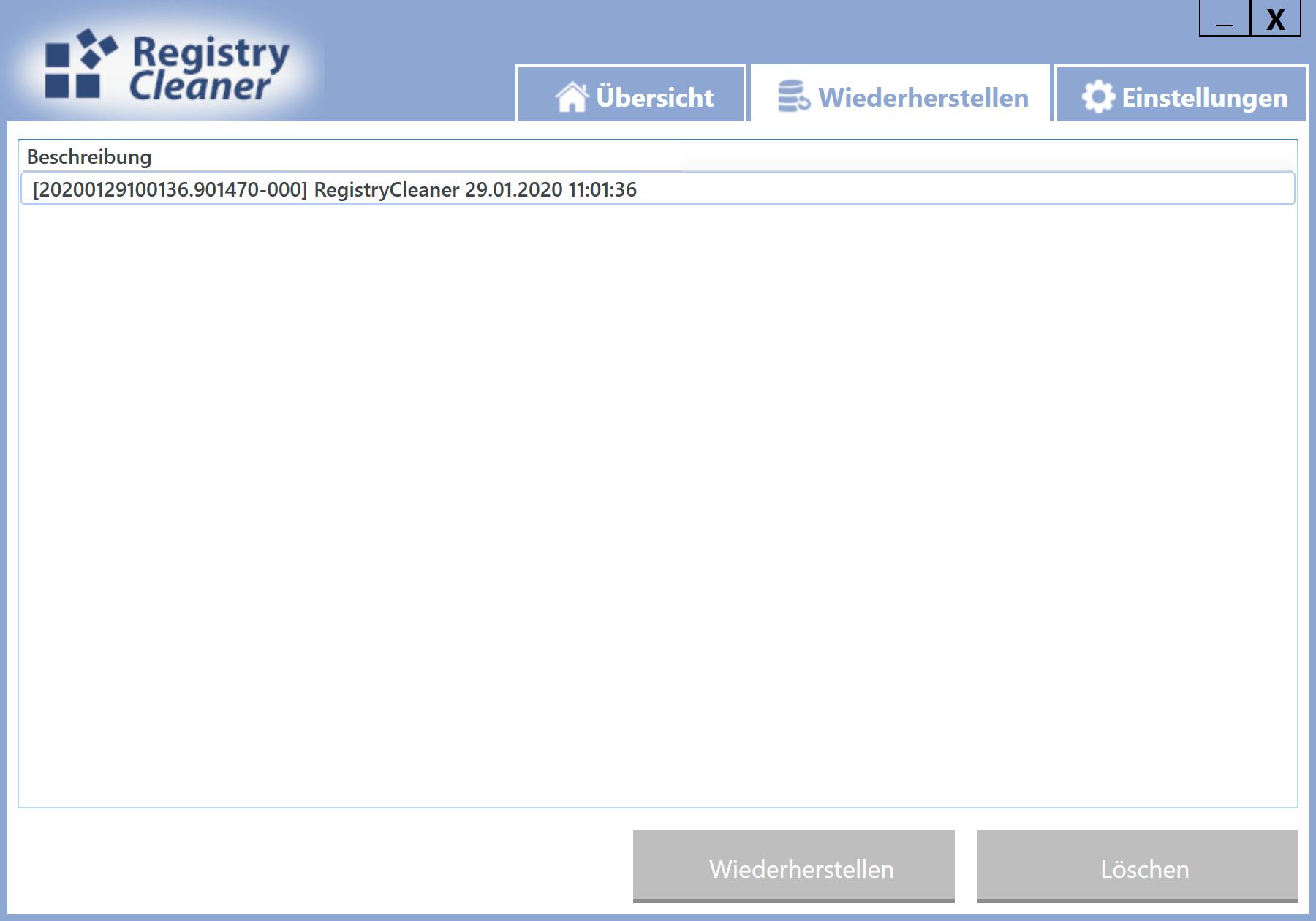 Gelöschte Einträge in der Registry wiederherstellen - Scan-Backups