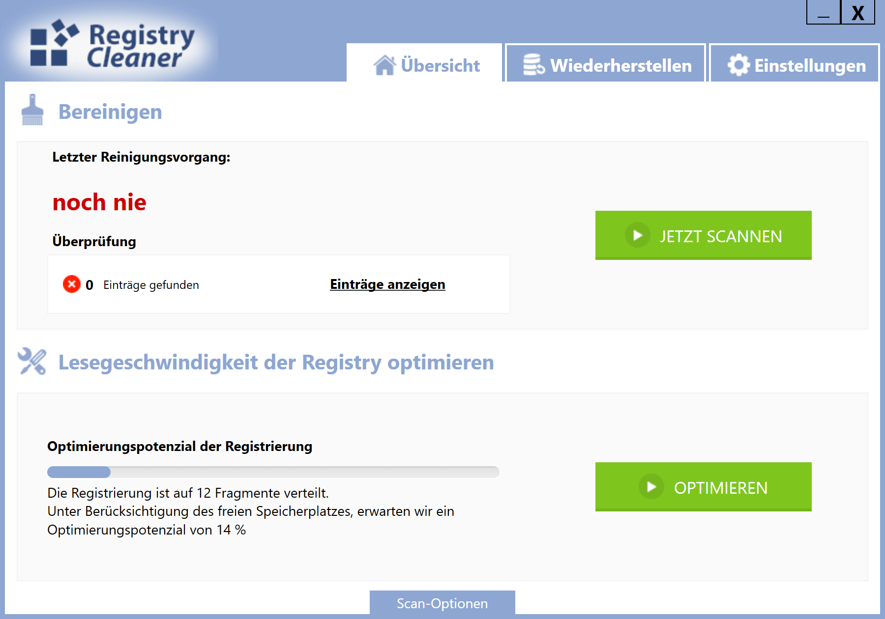 Windows 10 Registry schneller machen - Dashboard