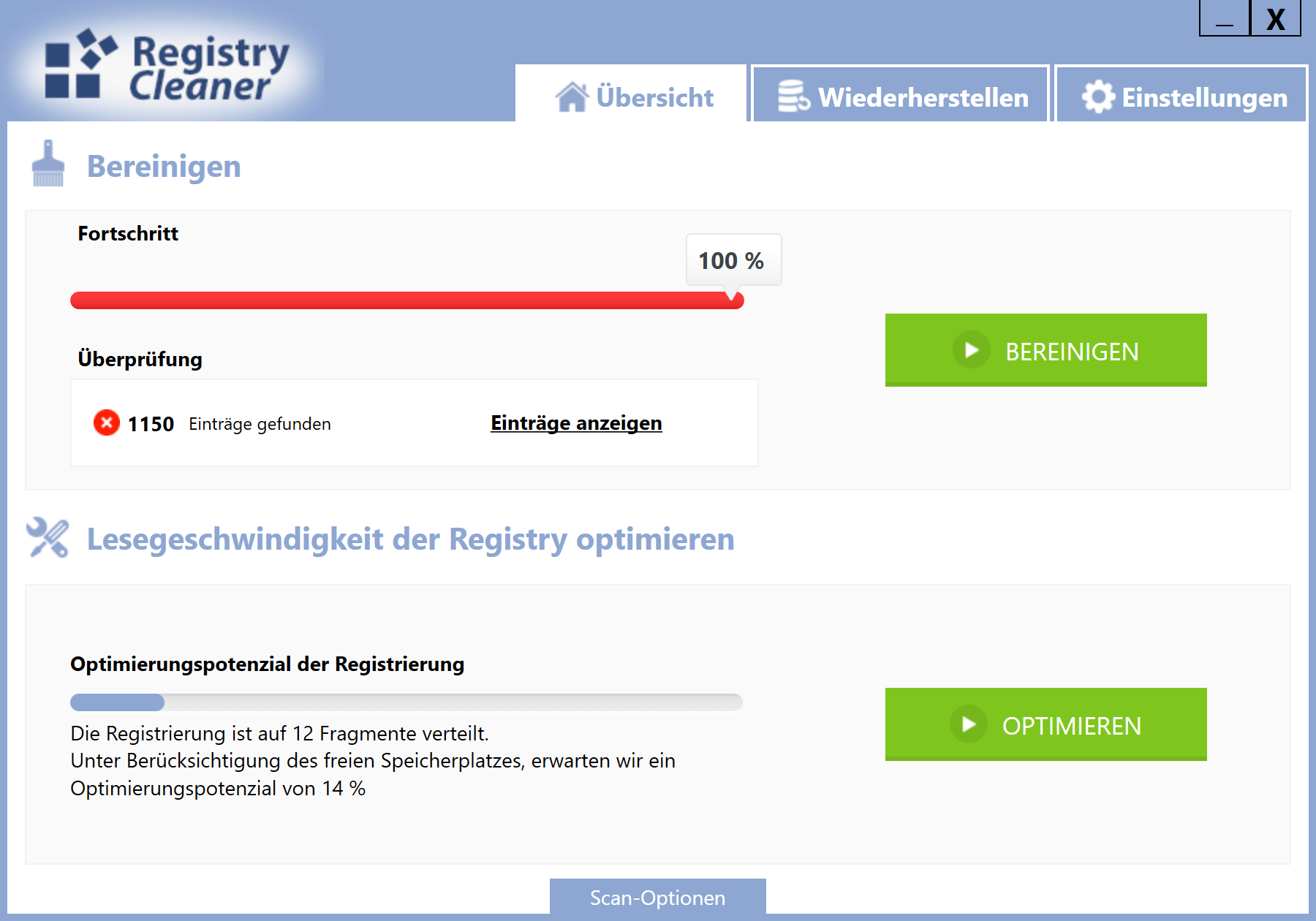 Windows 10 Registry schneller machen - Scan Optionen