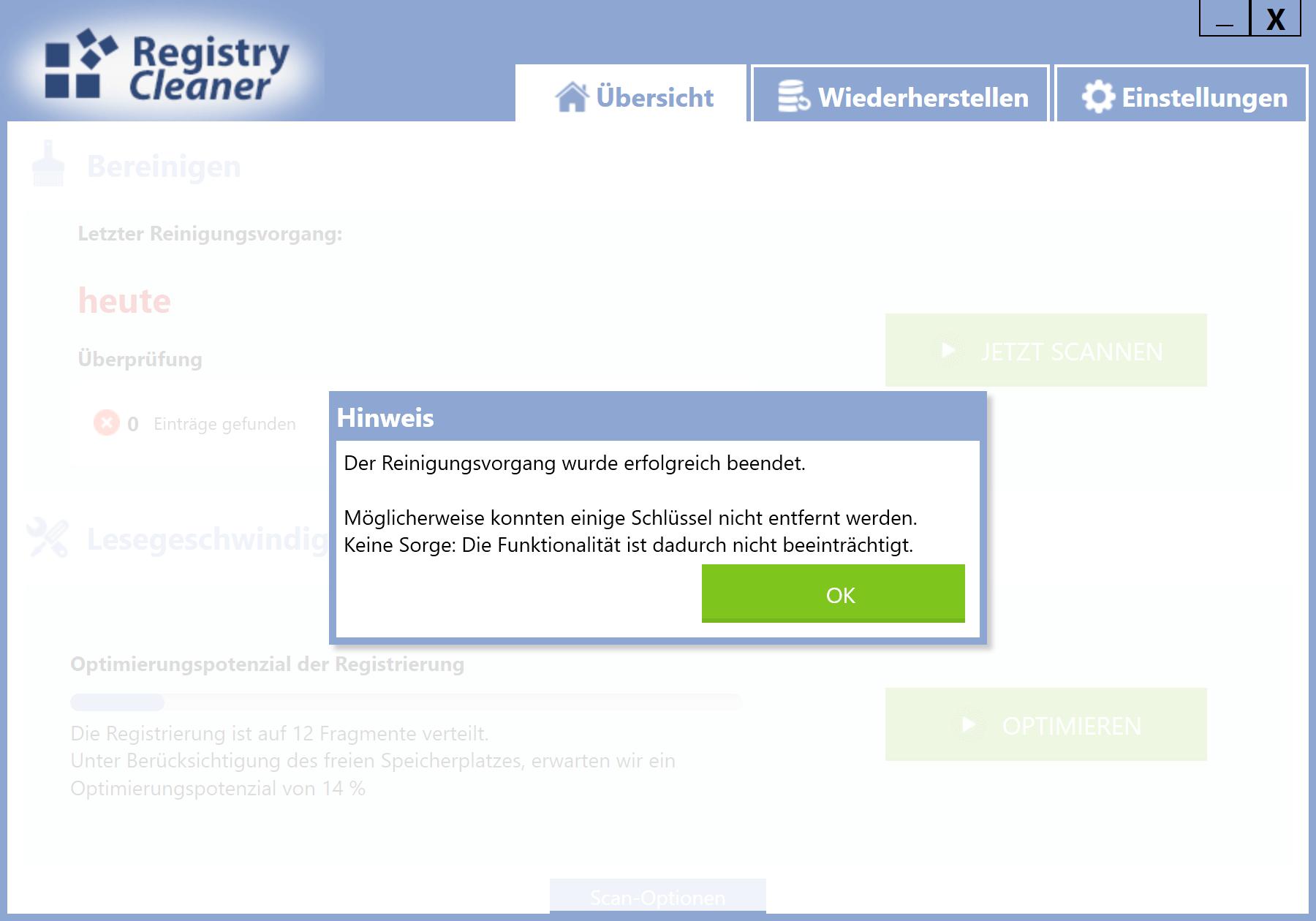 Windows 10 Registry schneller machen - Löschung bestätigen