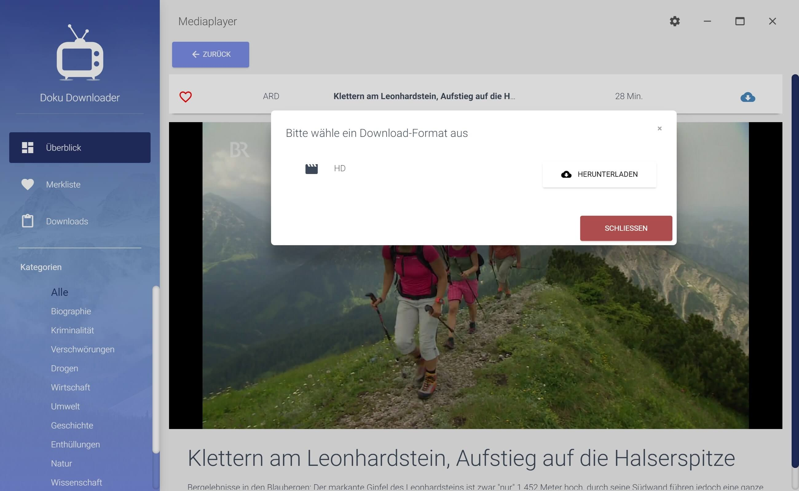 ARD Dokumentation aus Mediathek herunterladen - Downloadformat auswählen