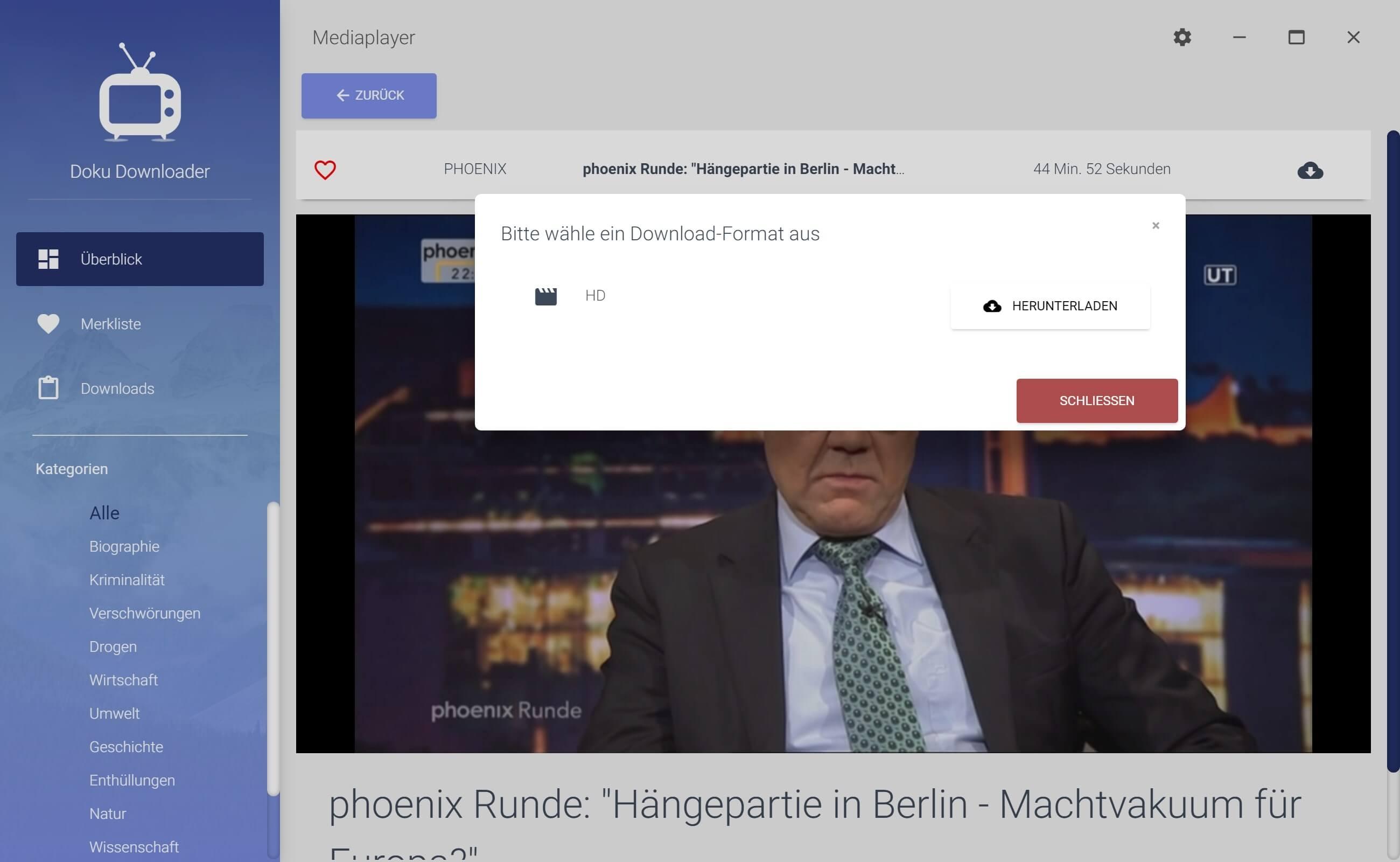 Phoenix Dokumentation aus Mediathek herunterladen - Downloadformat