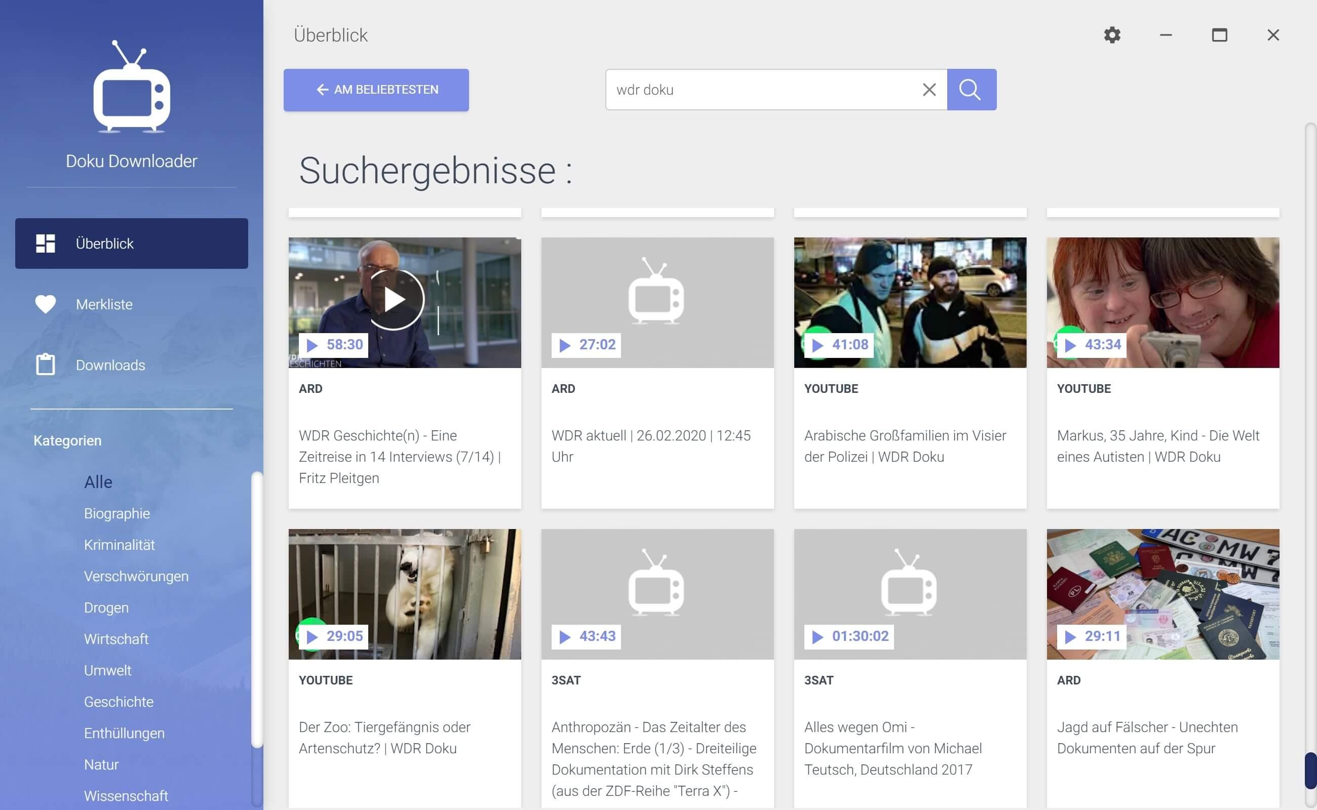 WDR Dokumentation aus Mediathek herunterladen - Doku auswählen