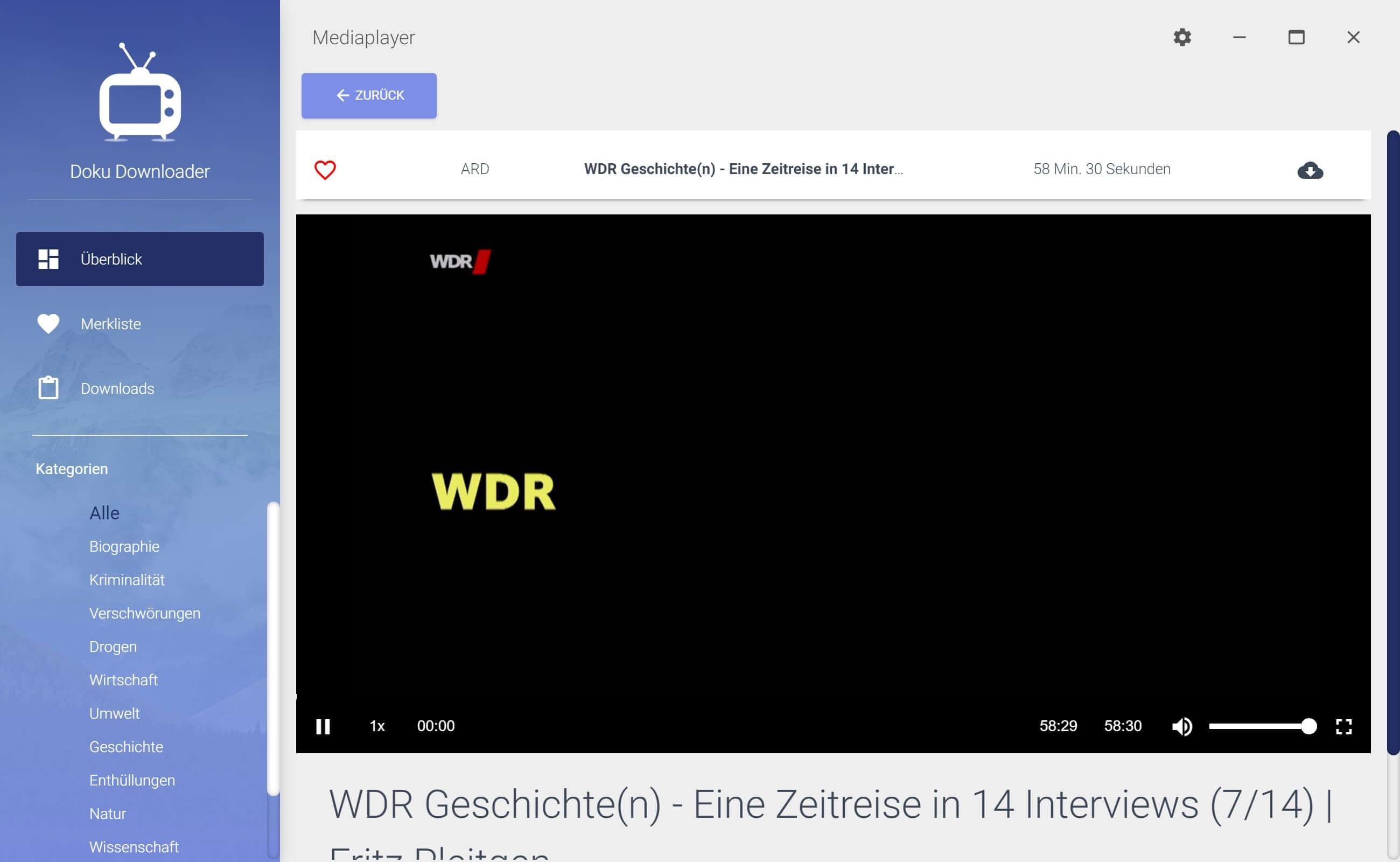 WDR Dokumentation aus Mediathek herunterladen - Detailansicht
