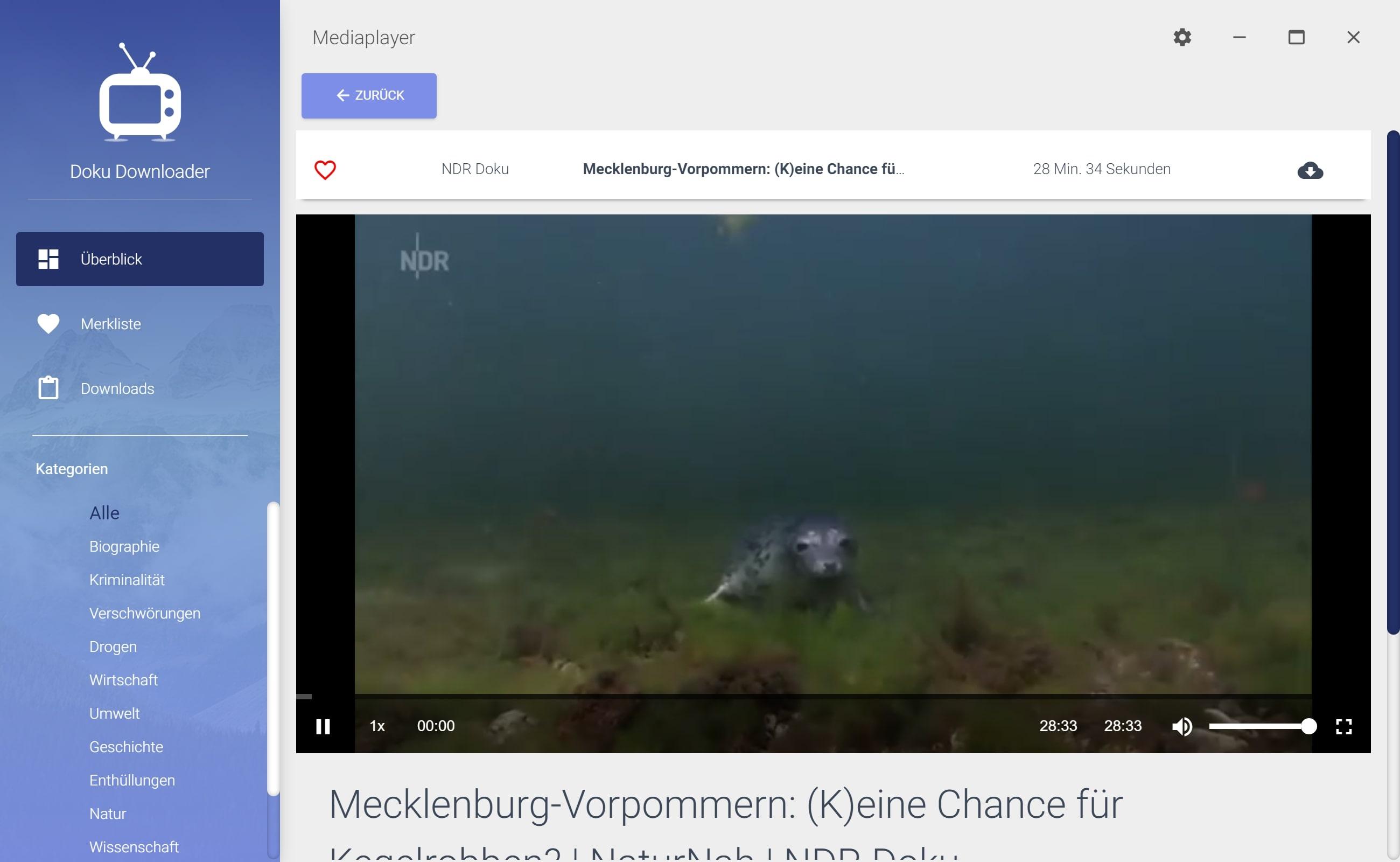 NDR Dokumentation aus Mediathek herunterladen - Detailansicht