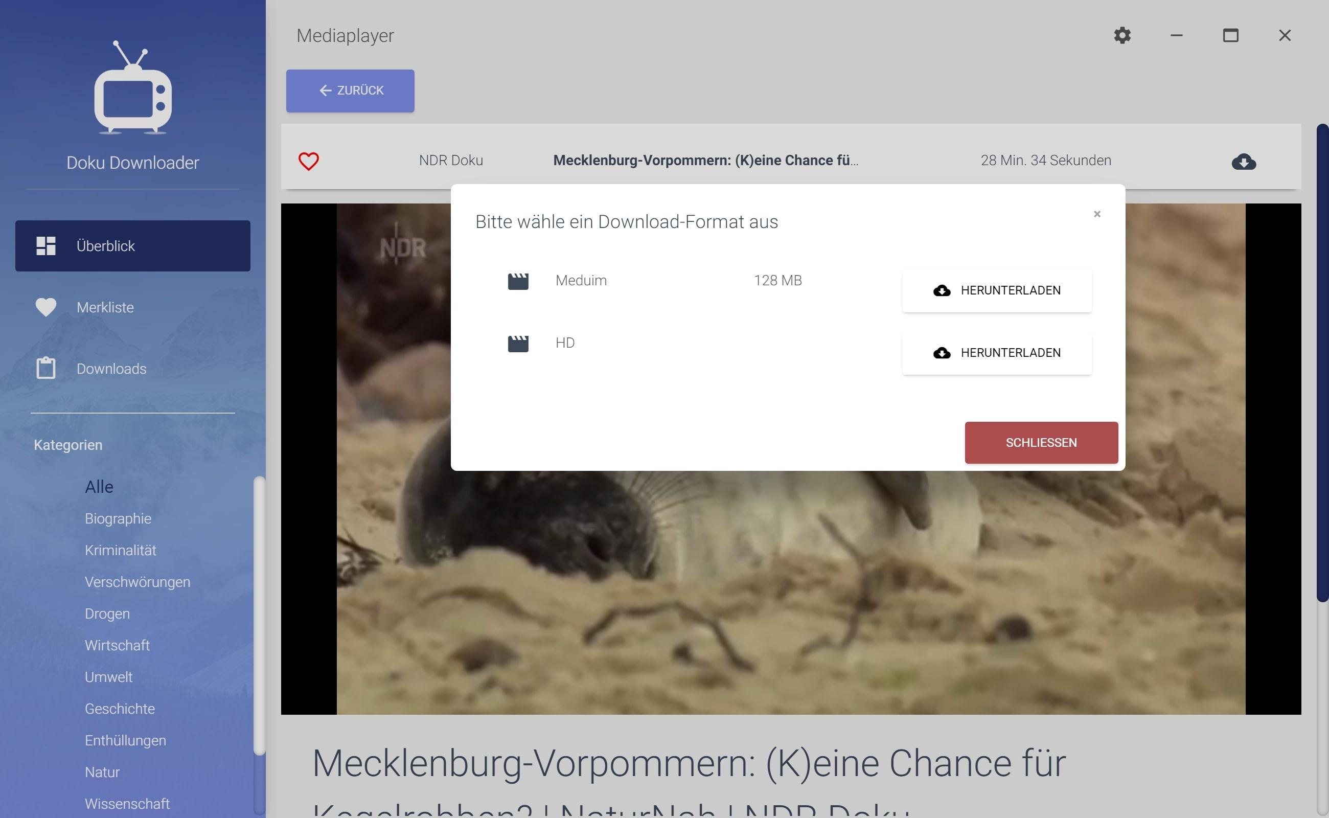 NDR Dokumentation aus Mediathek herunterladen - Downloadformat