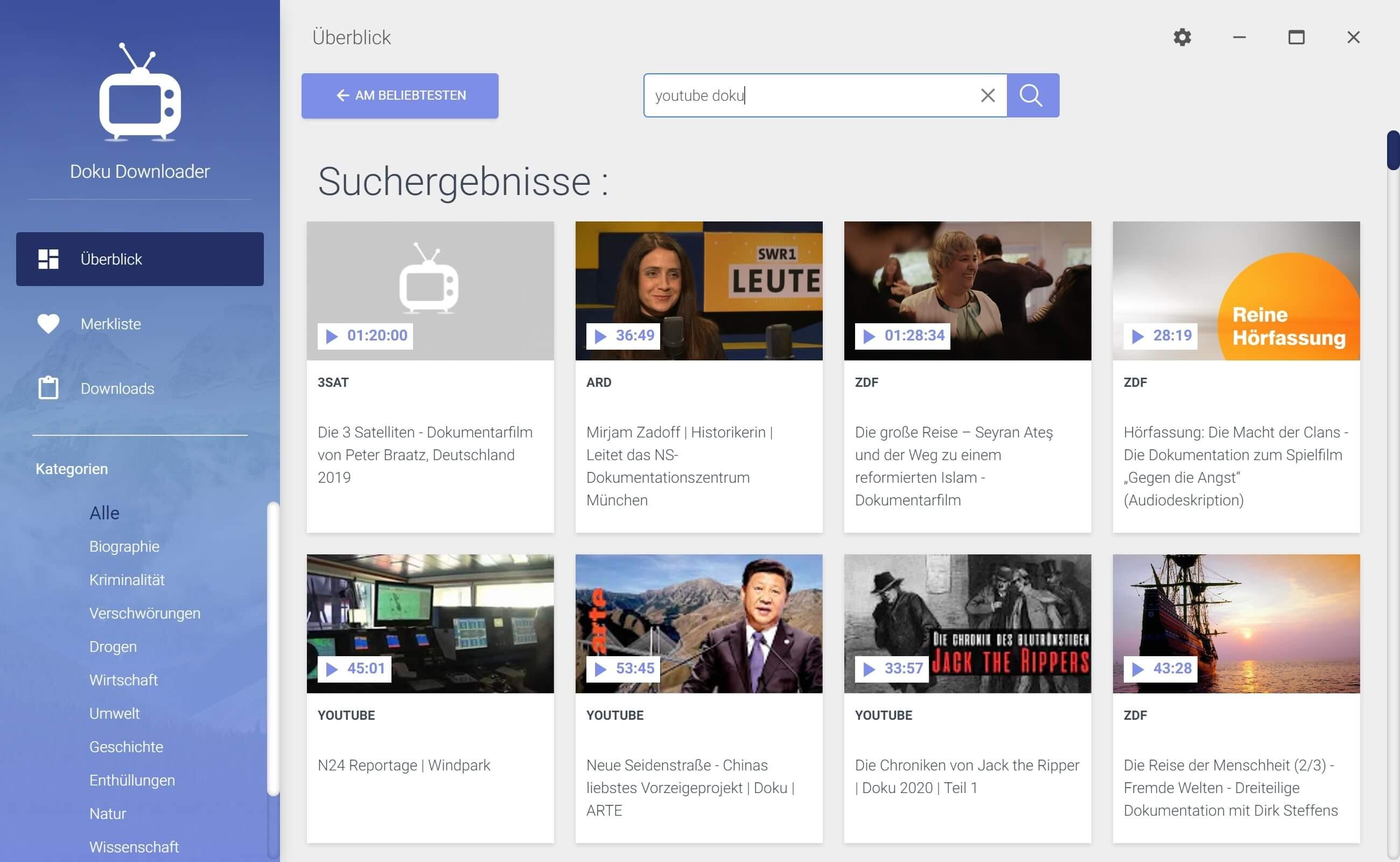 Dokumentationen von Youtube herunterladen - Suche nutzen