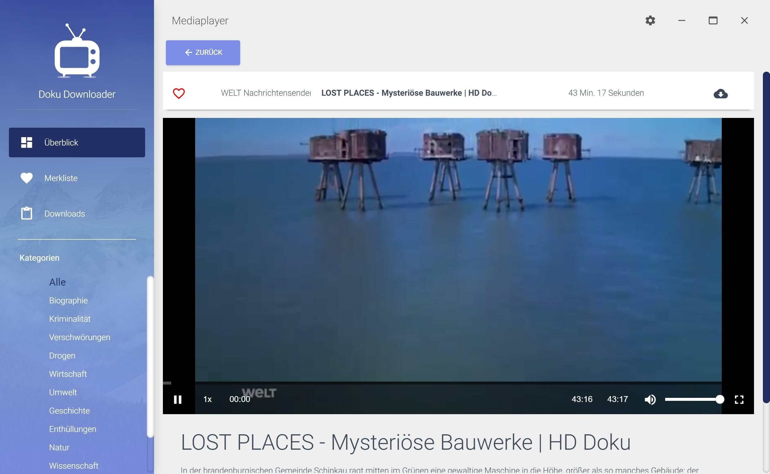 Dokumentationen von Youtube herunterladen - Detailansicht
