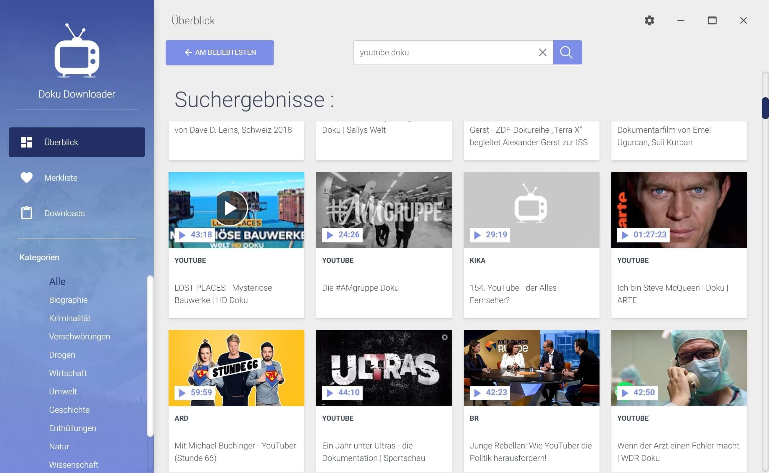 Youtube Dokumentationen herunterladen - Doku auswählen