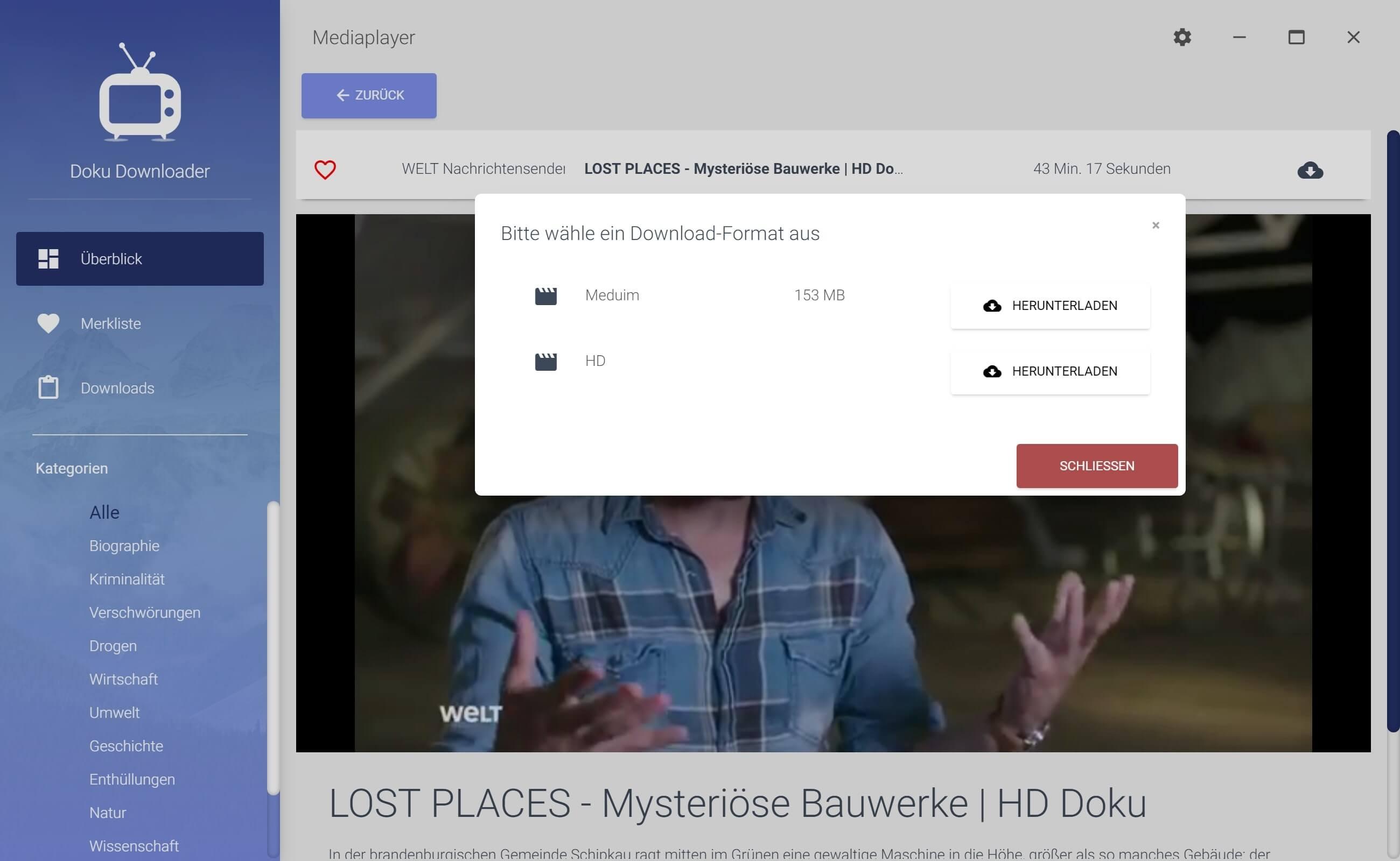 Youtube Dokumentationen herunterladen - Downloadformat auswählen