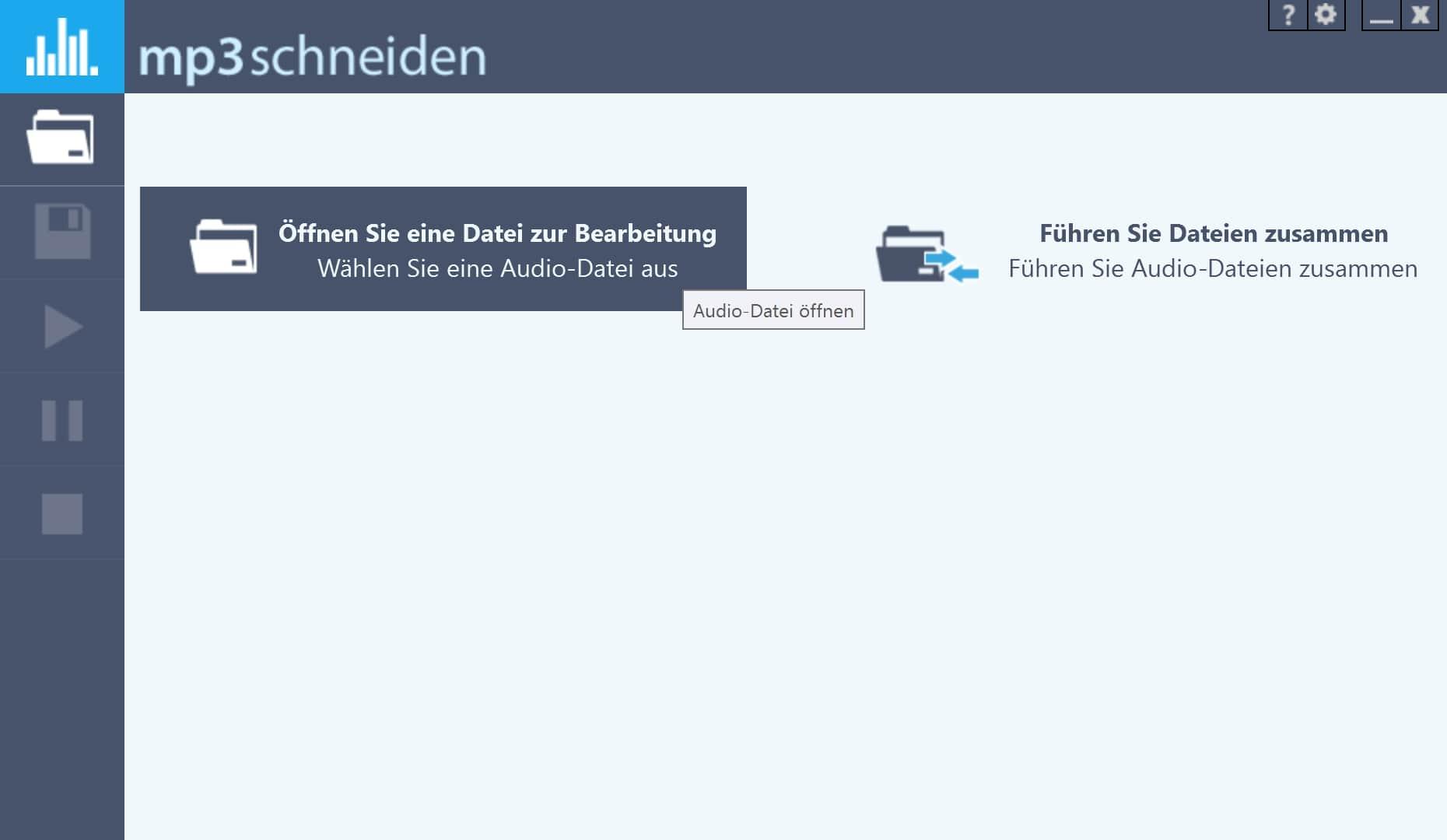 MP3 kürzen - MP3 Datei öffnen