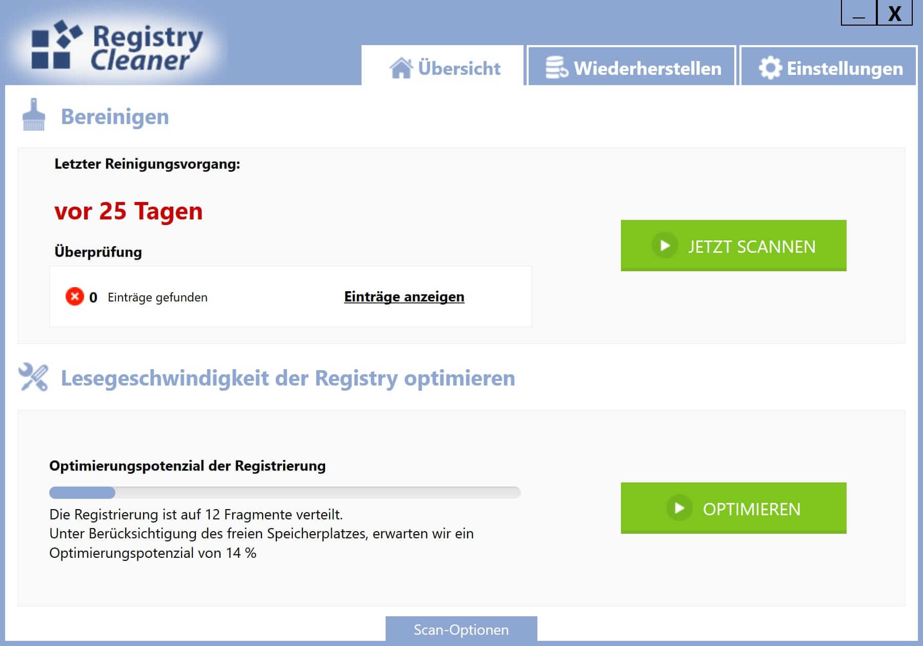 Registry defragmentieren - Start
