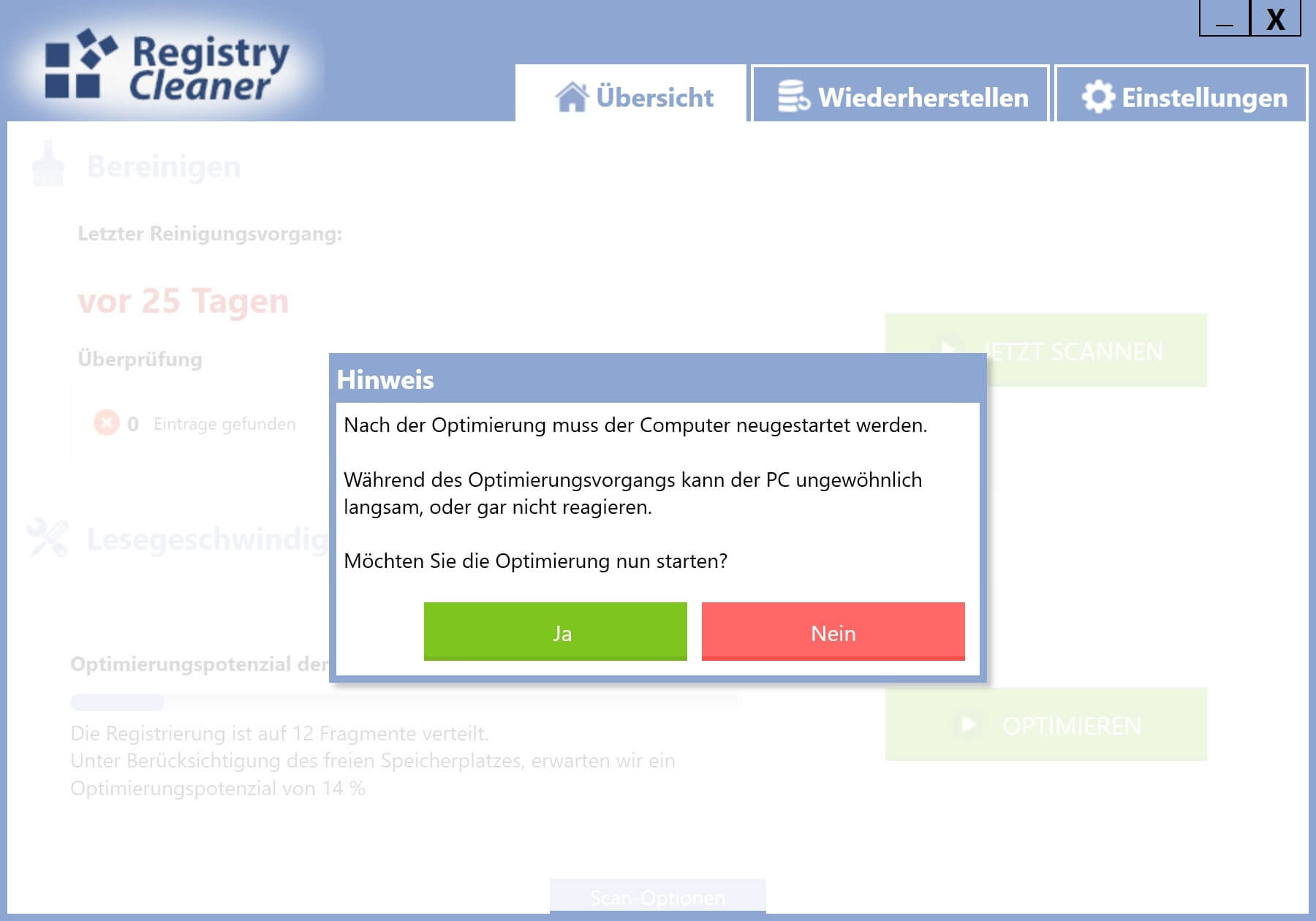 Registry defragmentieren - Optimierung starten