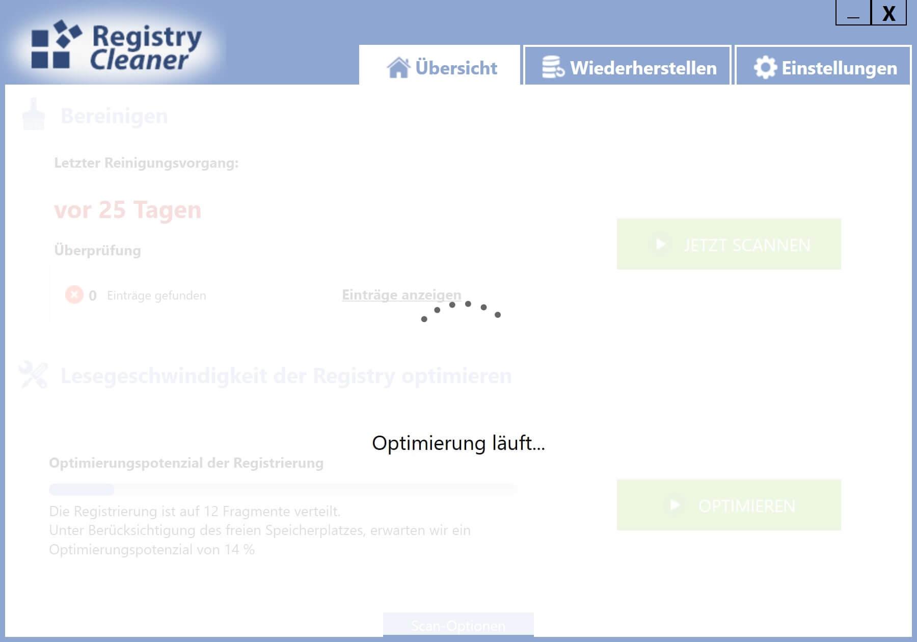 Registry defragmentieren - Durchführung der Defragmentierung