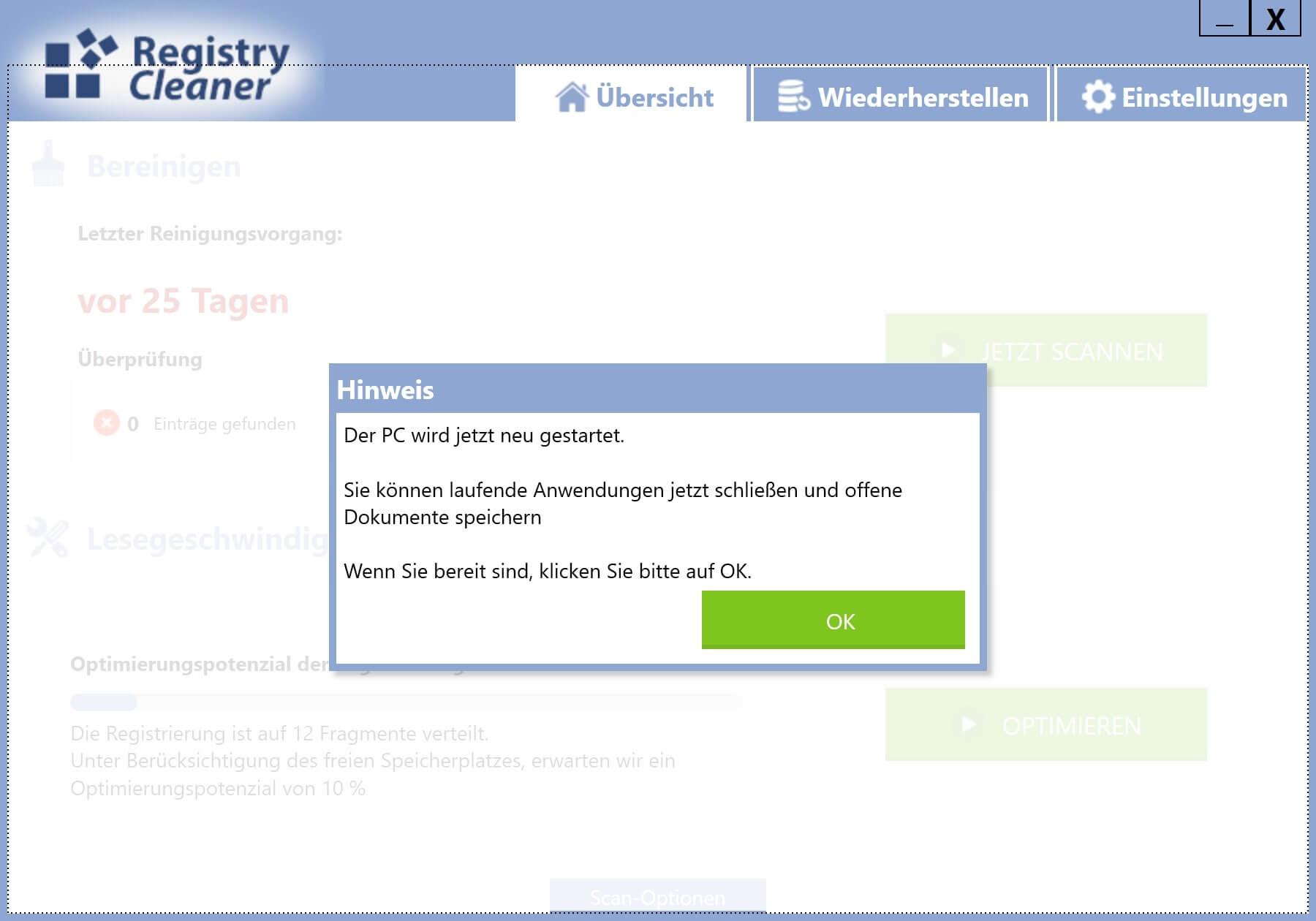 Registry defragmentieren - Defragmentierung erfolgreich