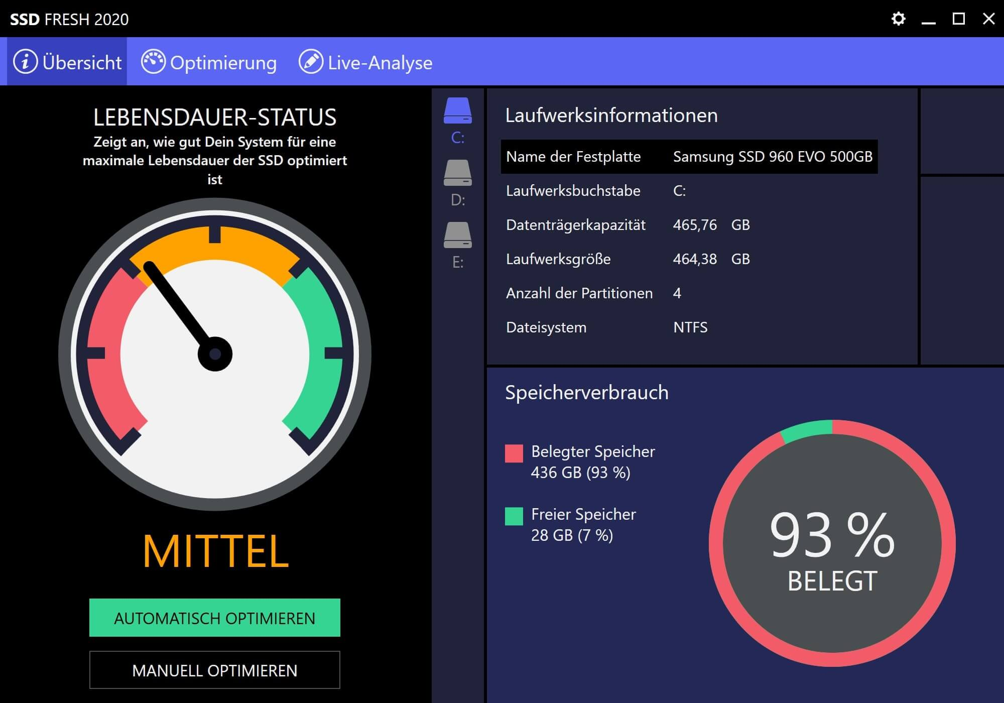 Windows 10 SSD optimieren - Start