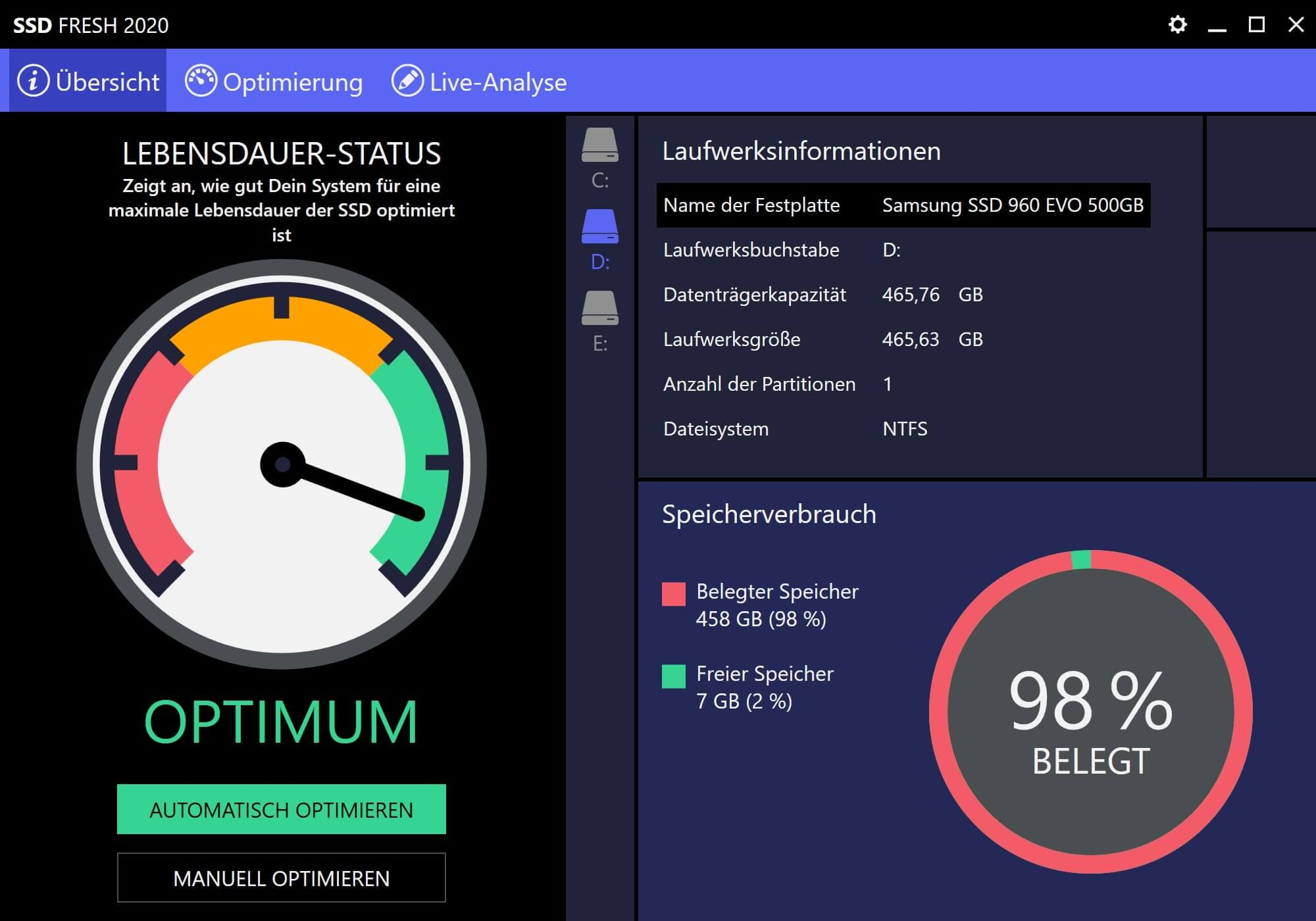 Windows 10 SSD optimieren - Optimierungsstatus