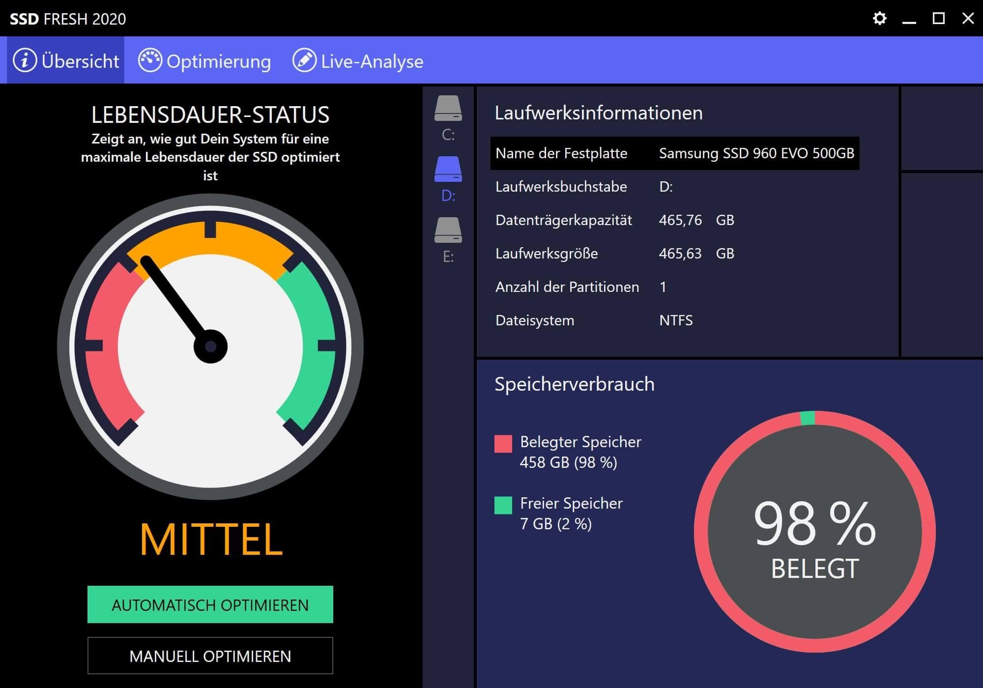 Windows 7 SSD optimieren - Optimierungszustand