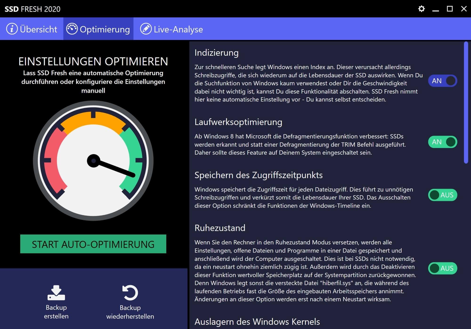 Windows 7 SSD optimieren - Optimierung erfolgreich