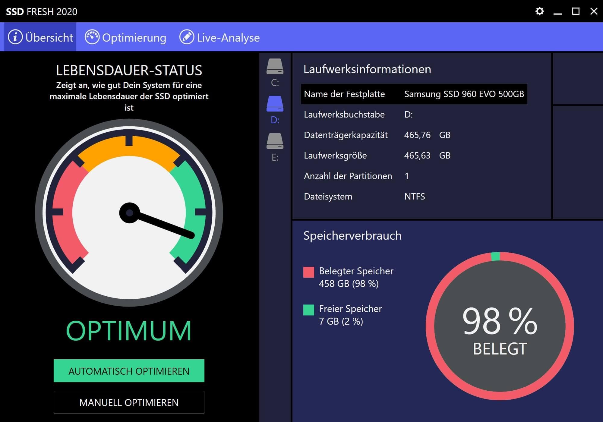 Windows 7 SSD optimieren - Zustand nach Optimierung