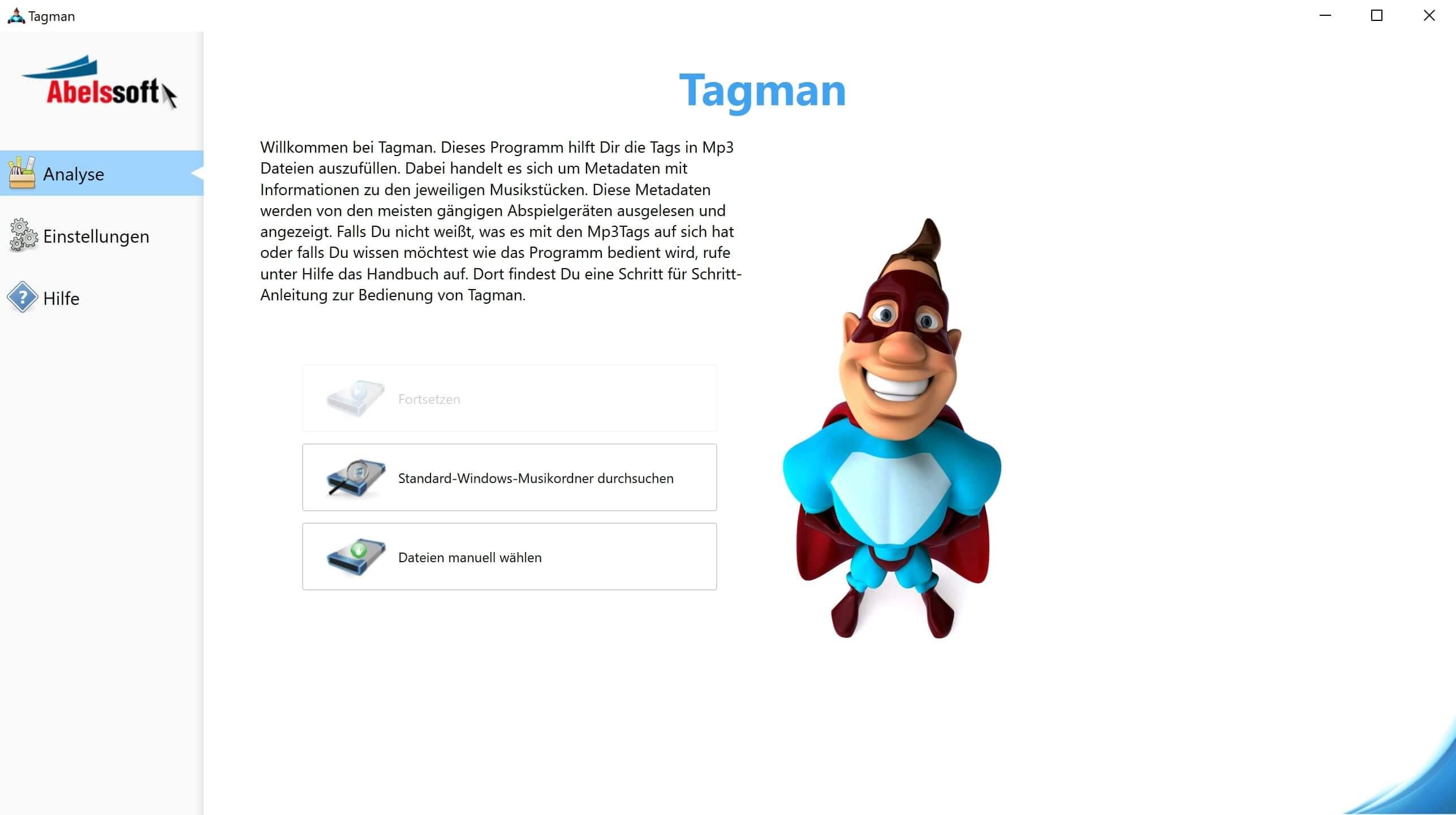 MP3 Interpret und Titel bearbeiten - Startbildschirm