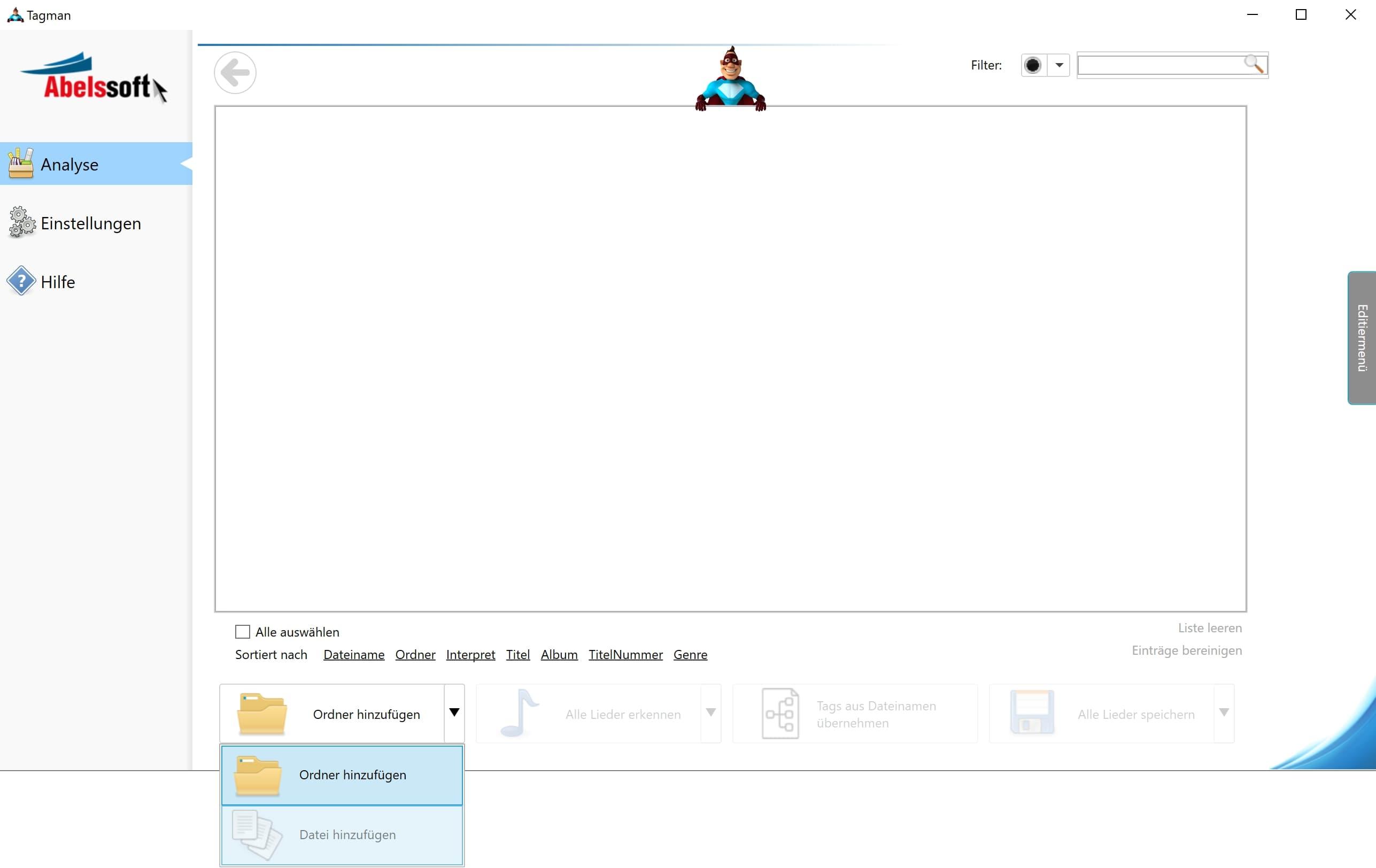 MP3 Interpret und Titel bearbeiten - Datei wählen
