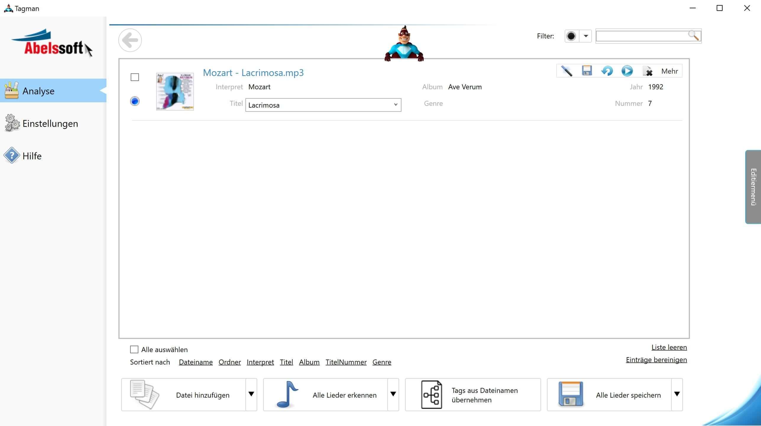 MP3 Interpret und Titel bearbeiten - Interpret bearbeiten