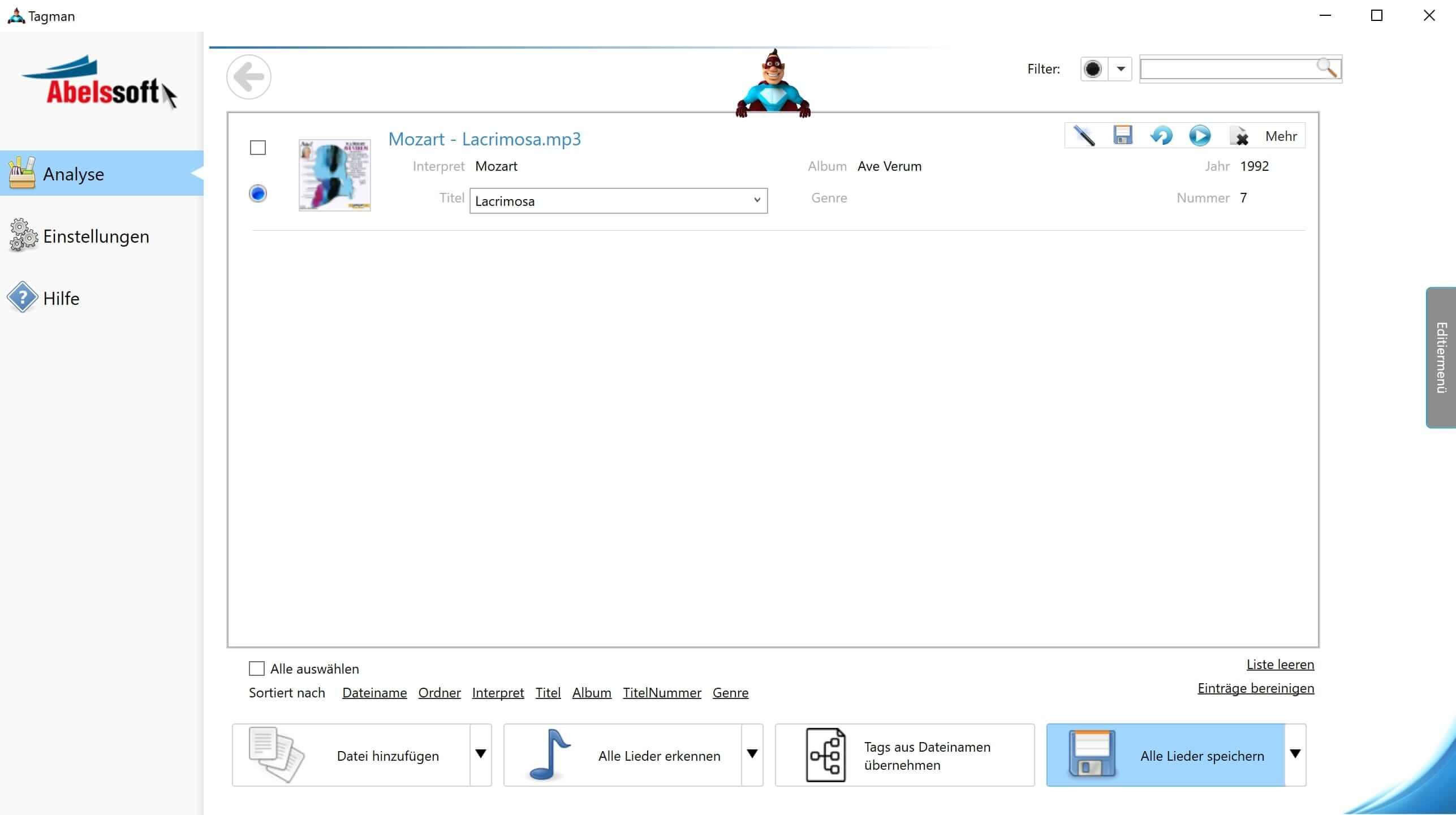MP3 Interpret und Titel bearbeiten - Änderungen speichern