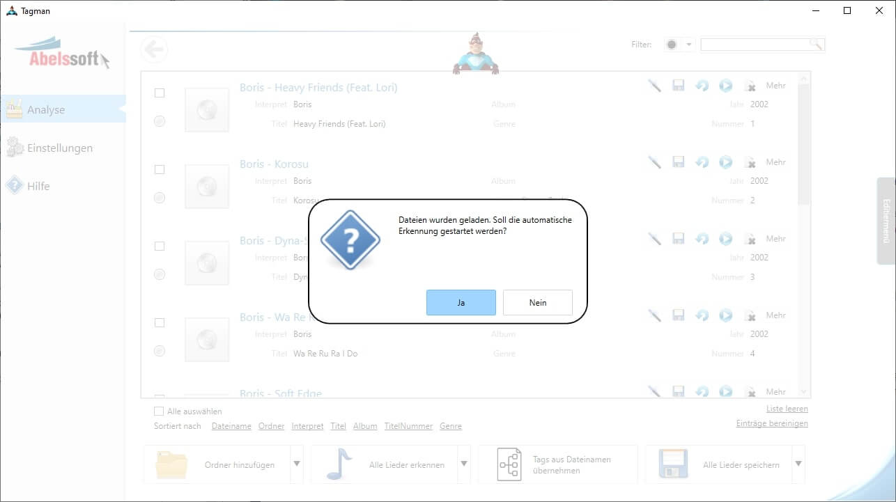 FLAC ID3 Tag Editor - Automatische Erkennung aktivieren