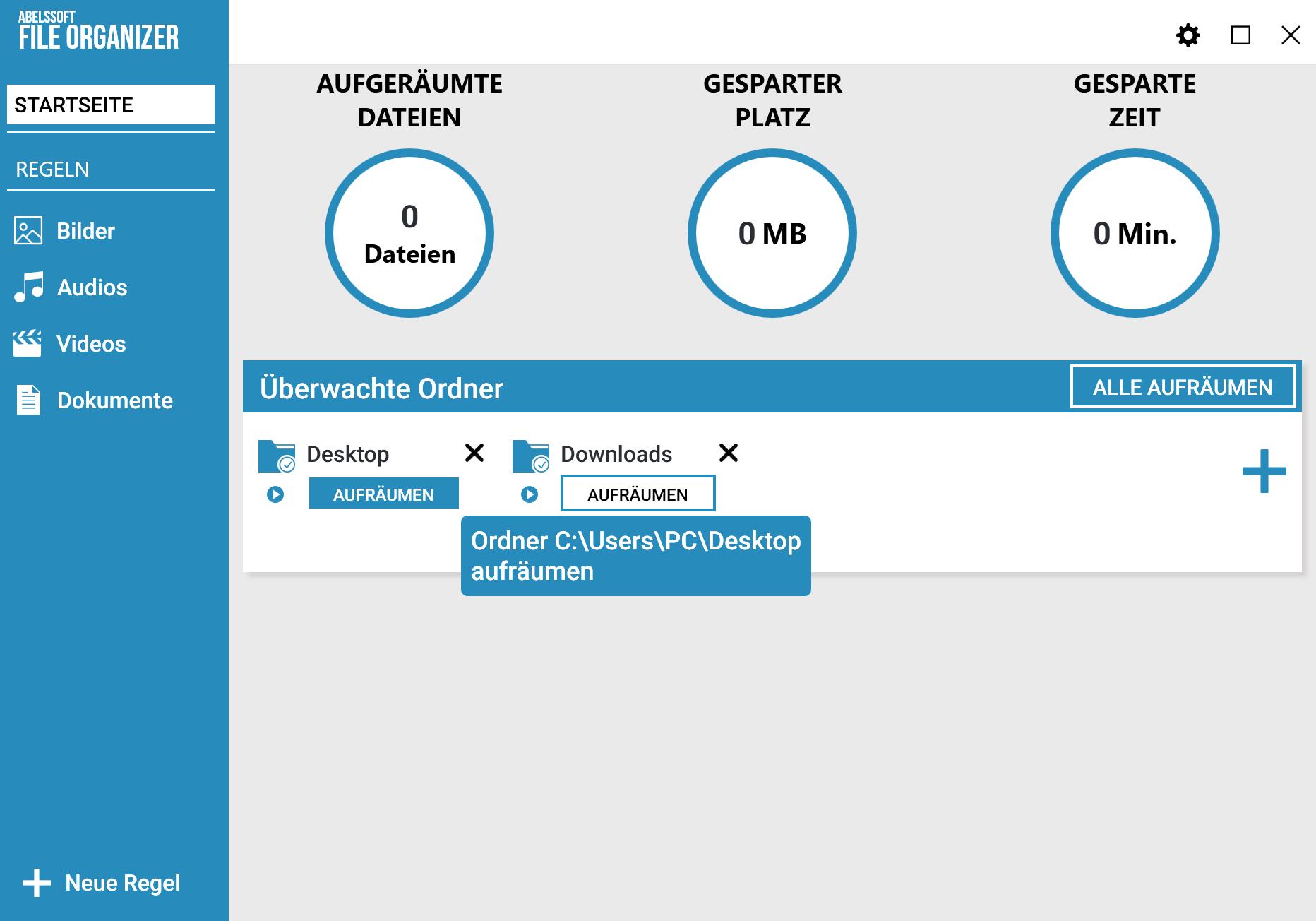 Desktop automatisch aufräumen - Aufräum-Vorgang starten
