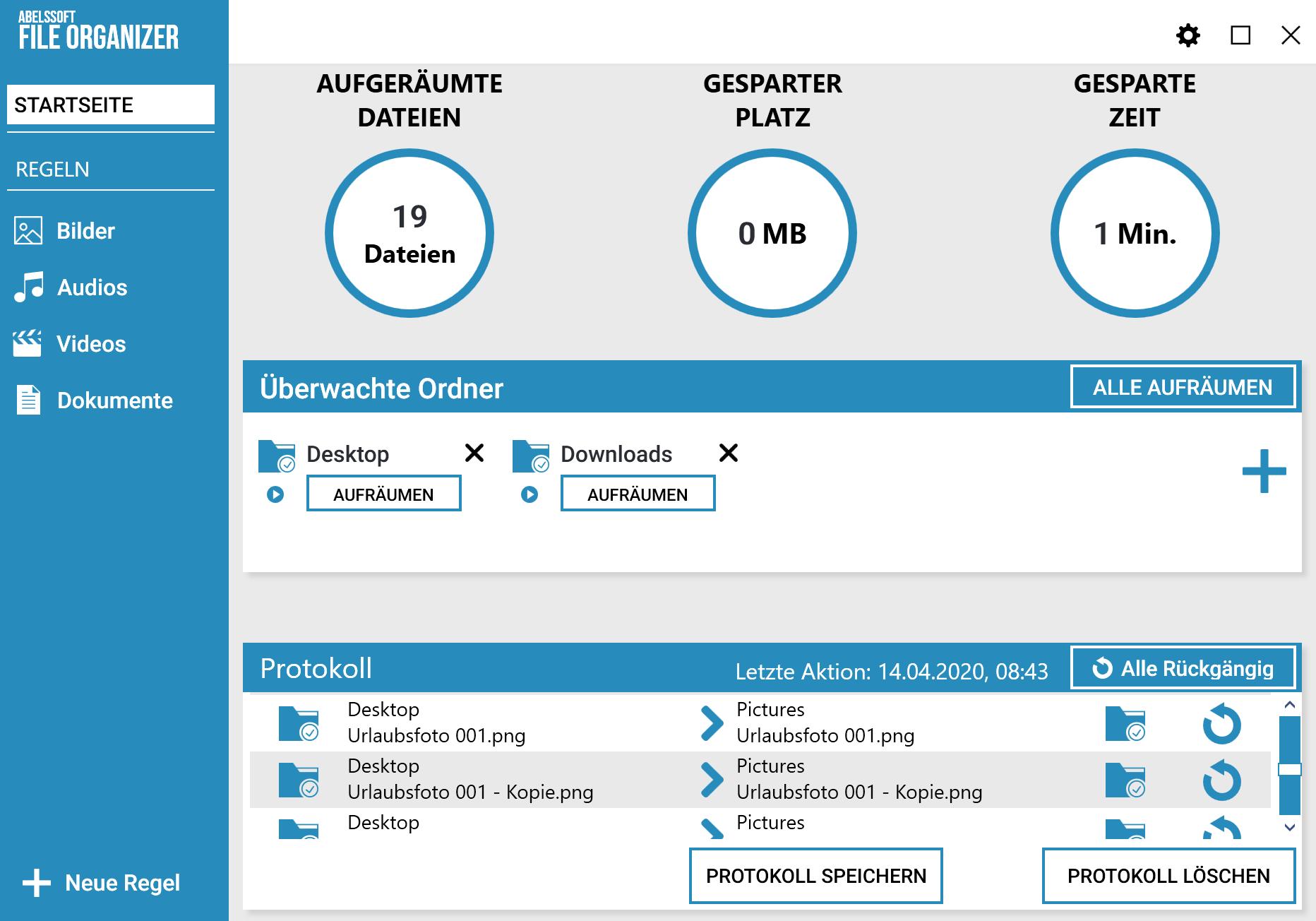Desktop automatisch aufräumen - Ergebnis