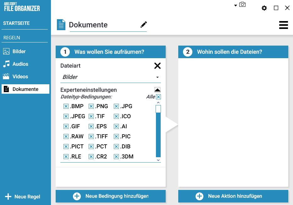Ordner und Verzeichnisse automatisch aufräumen - Dateiart
